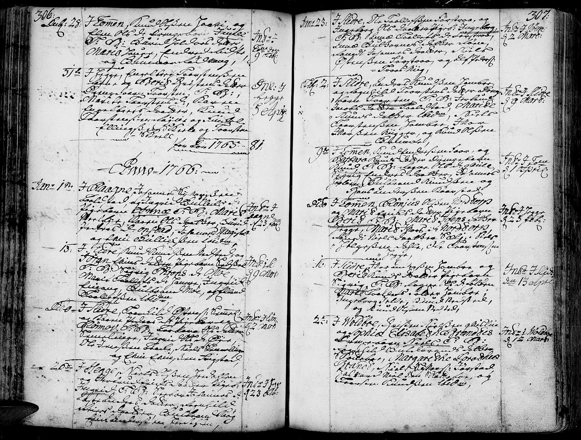 SAH, Slidre prestekontor, Ministerialbok nr. 1, 1724-1814, s. 306-307