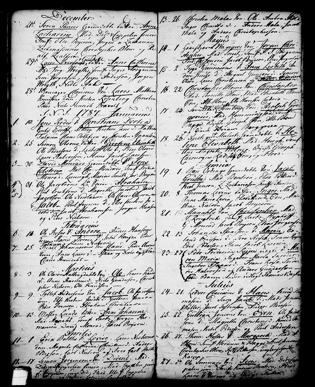 SAKO, Skien kirkebøker, G/Ga/L0001: Klokkerbok nr. 1, 1756-1791, s. 112