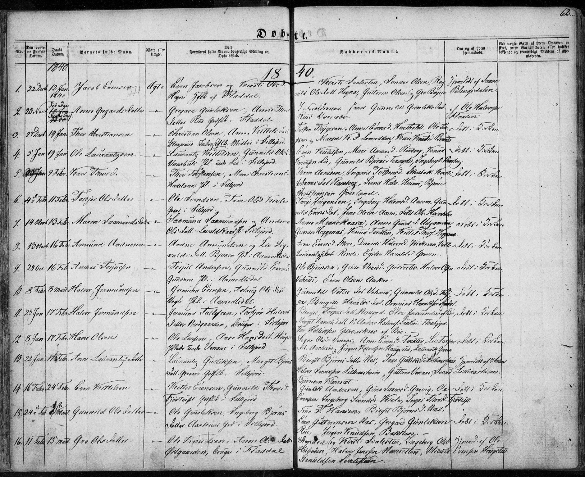 SAKO, Seljord kirkebøker, F/Fa/L0011: Ministerialbok nr. I 11, 1831-1849, s. 62