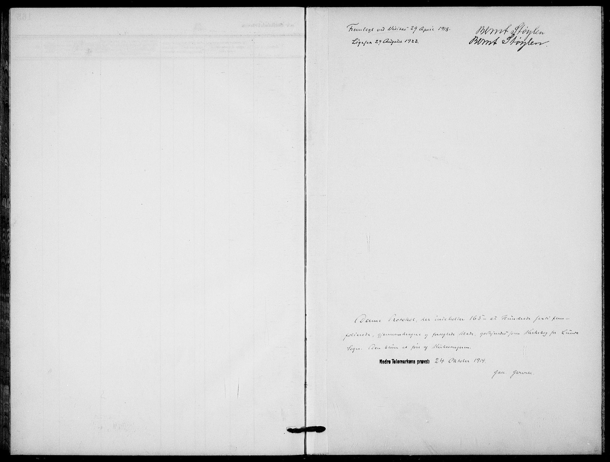 SAKO, Lunde kirkebøker, F/Fa/L0005: Ministerialbok nr. I 5, 1914-1922