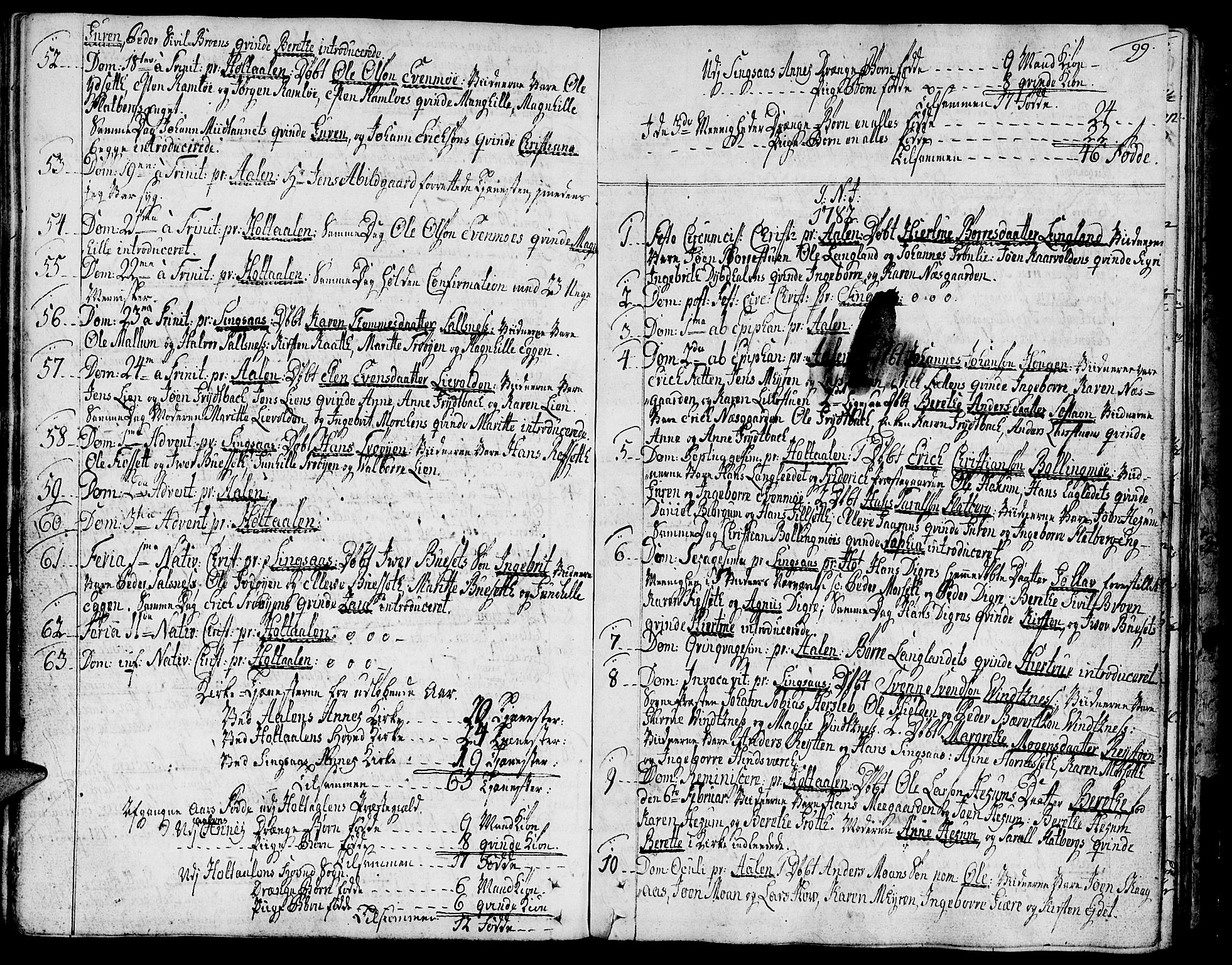 SAT, Ministerialprotokoller, klokkerbøker og fødselsregistre - Sør-Trøndelag, 685/L0952: Ministerialbok nr. 685A01, 1745-1804, s. 99