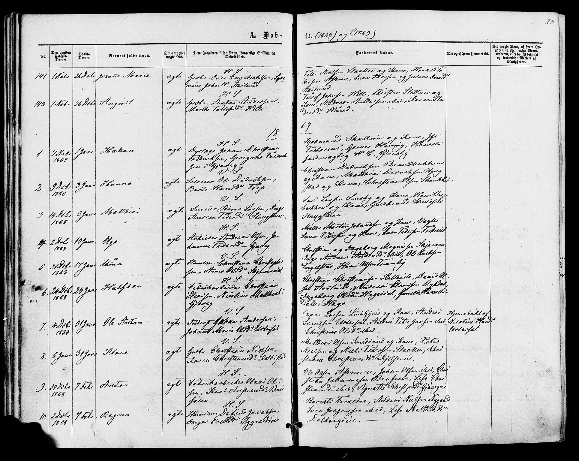 SAH, Vardal prestekontor, H/Ha/Haa/L0007: Ministerialbok nr. 7, 1867-1878, s. 23