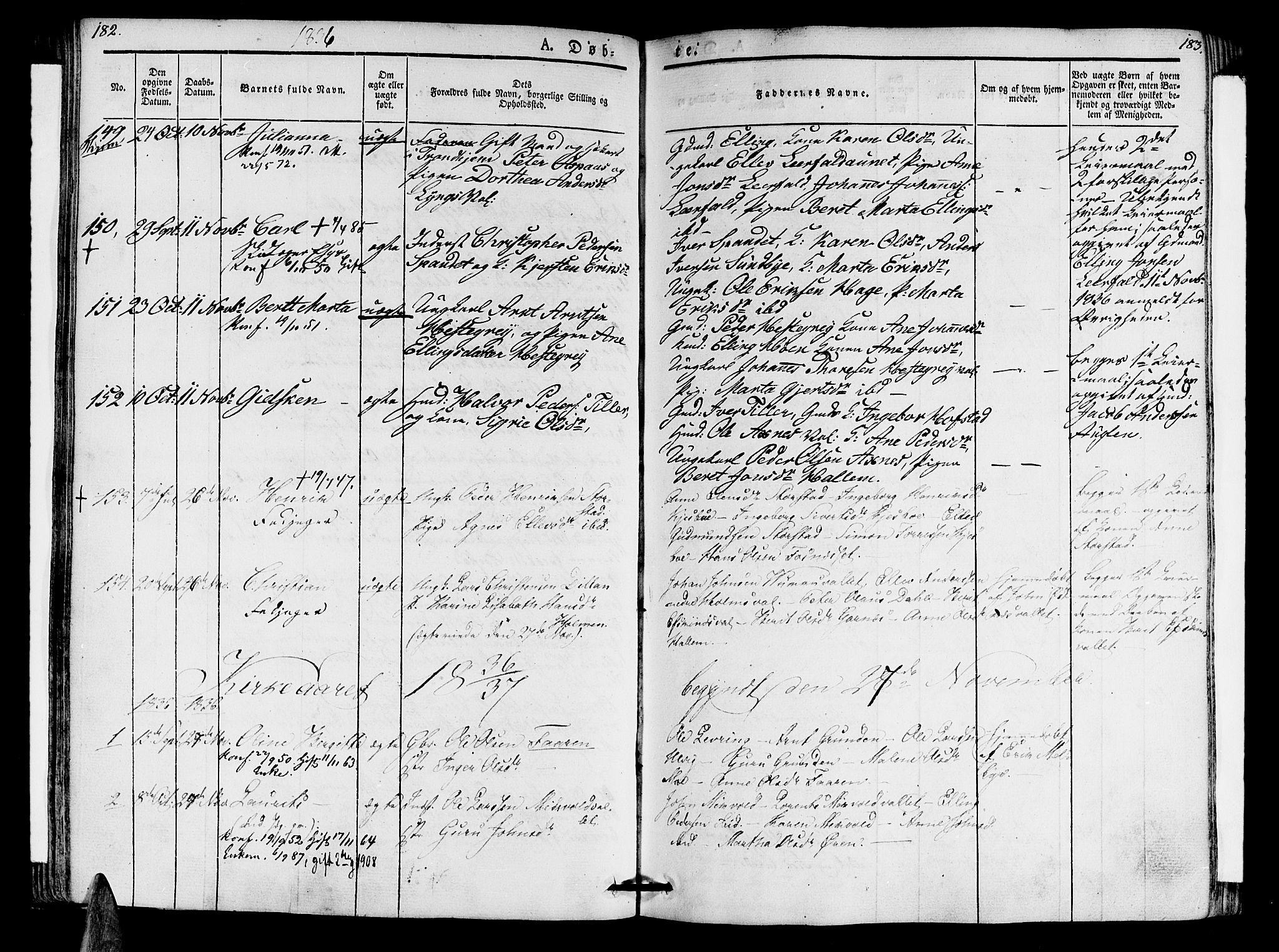 SAT, Ministerialprotokoller, klokkerbøker og fødselsregistre - Nord-Trøndelag, 723/L0238: Ministerialbok nr. 723A07, 1831-1840, s. 182-183