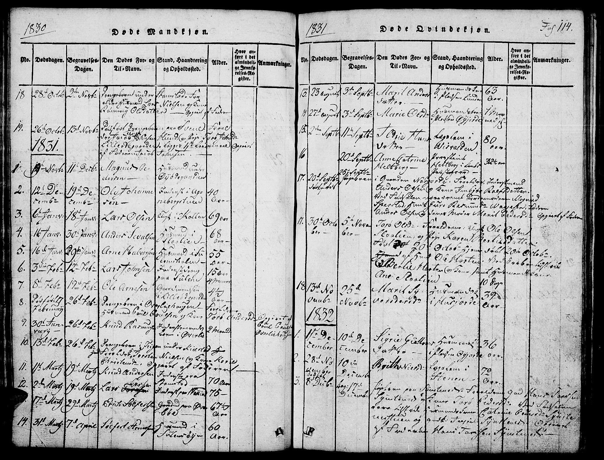 SAH, Lom prestekontor, L/L0001: Klokkerbok nr. 1, 1815-1836, s. 114