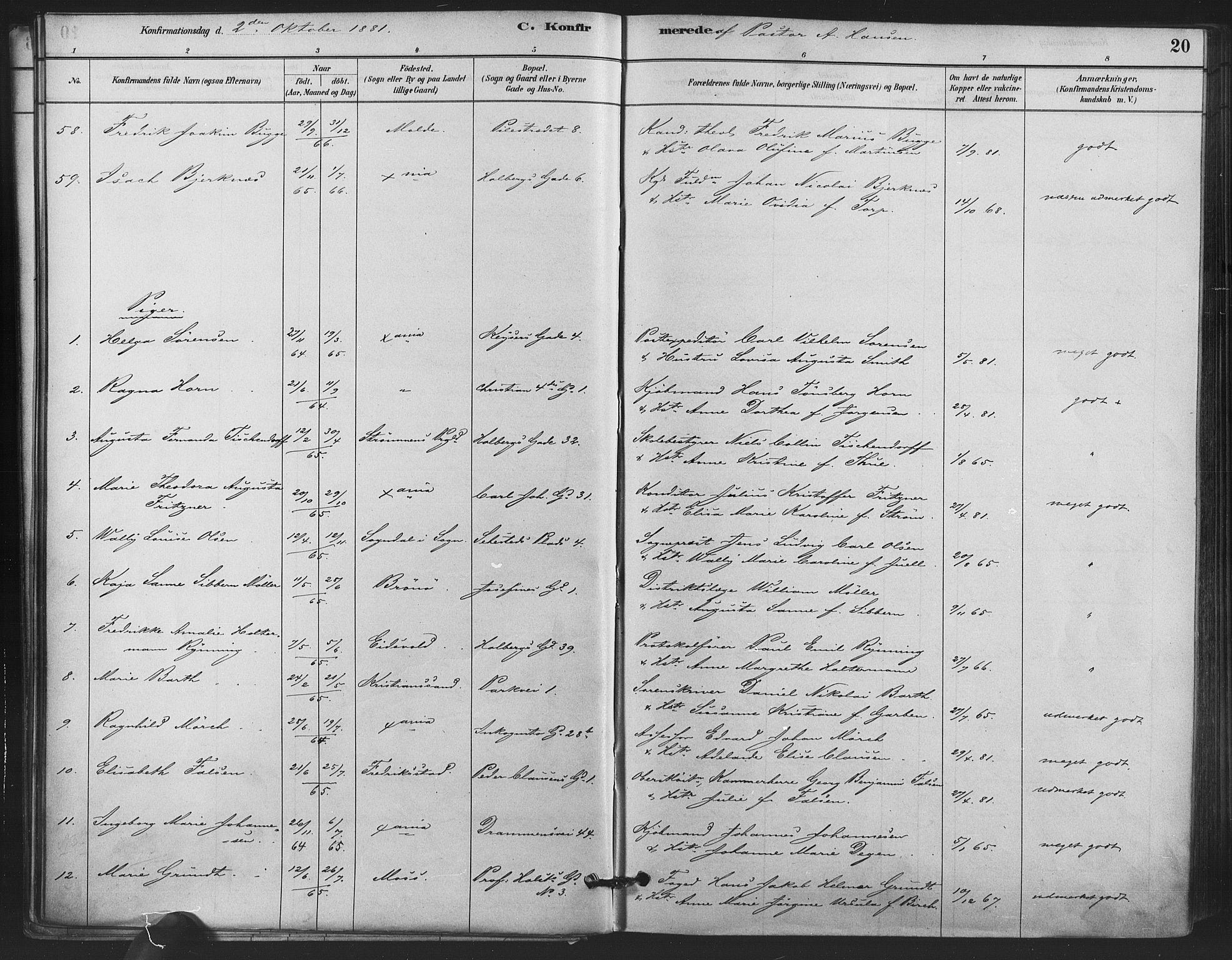 SAO, Trefoldighet prestekontor Kirkebøker, F/Fb/L0003: Ministerialbok nr. II 3, 1881-1895, s. 20
