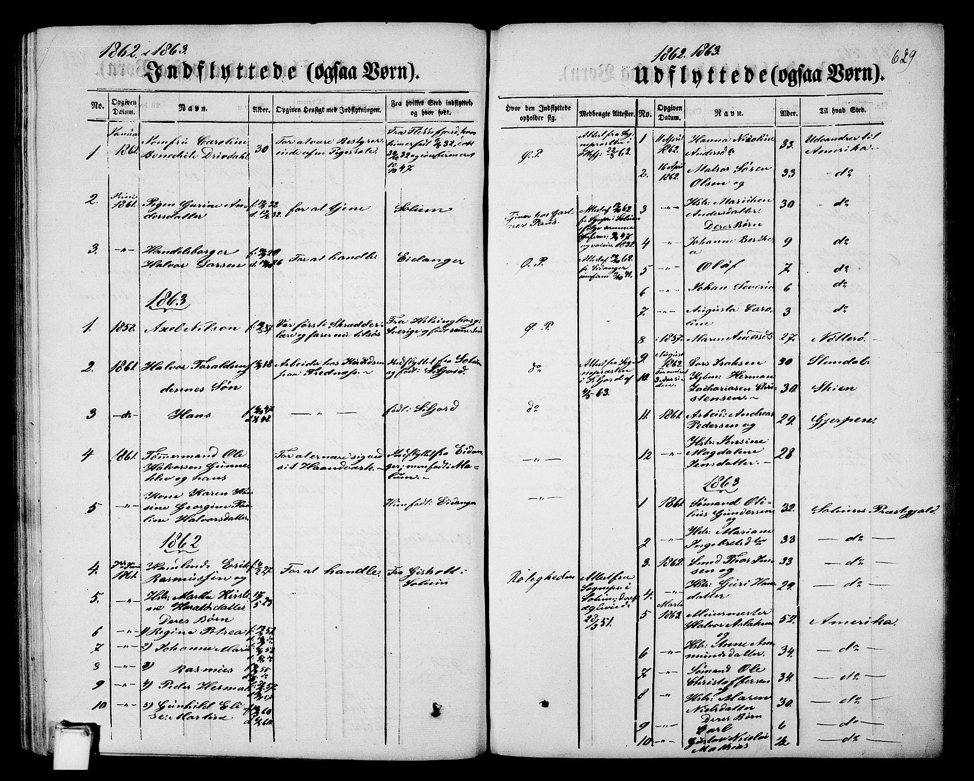 SAKO, Porsgrunn kirkebøker , G/Gb/L0004: Klokkerbok nr. II 4, 1853-1882, s. 629