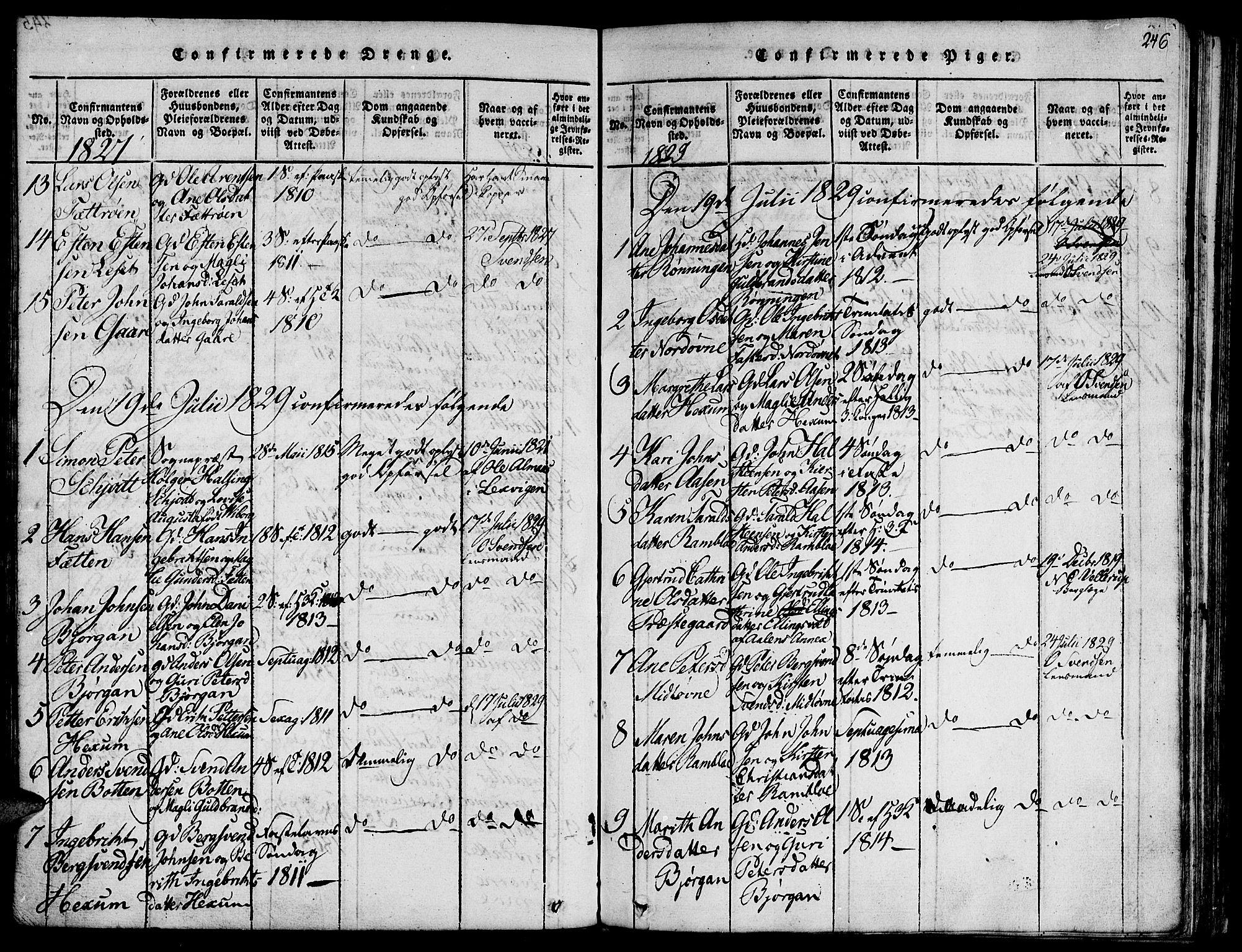 SAT, Ministerialprotokoller, klokkerbøker og fødselsregistre - Sør-Trøndelag, 685/L0954: Ministerialbok nr. 685A03 /1, 1817-1829, s. 246
