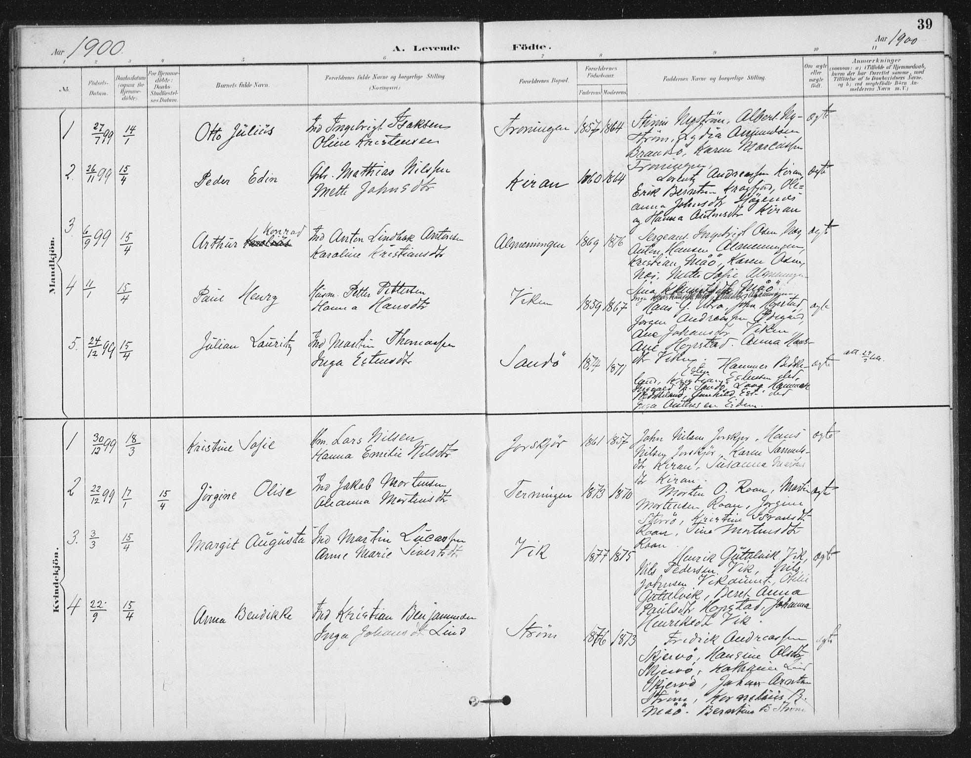 SAT, Ministerialprotokoller, klokkerbøker og fødselsregistre - Sør-Trøndelag, 657/L0708: Ministerialbok nr. 657A09, 1894-1904, s. 39