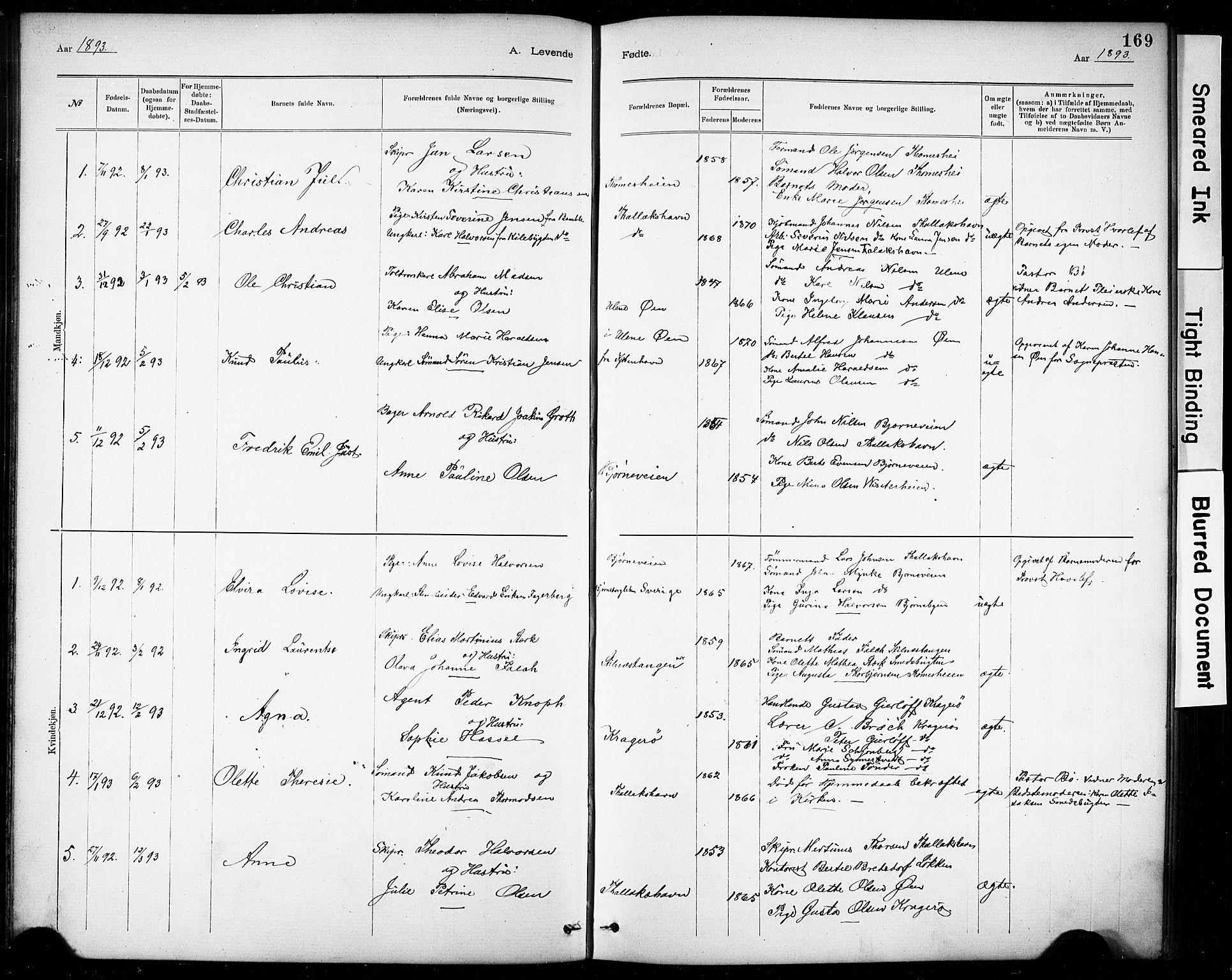 SAKO, Kragerø kirkebøker, G/Ga/L0007: Klokkerbok nr. 7, 1881-1927, s. 169