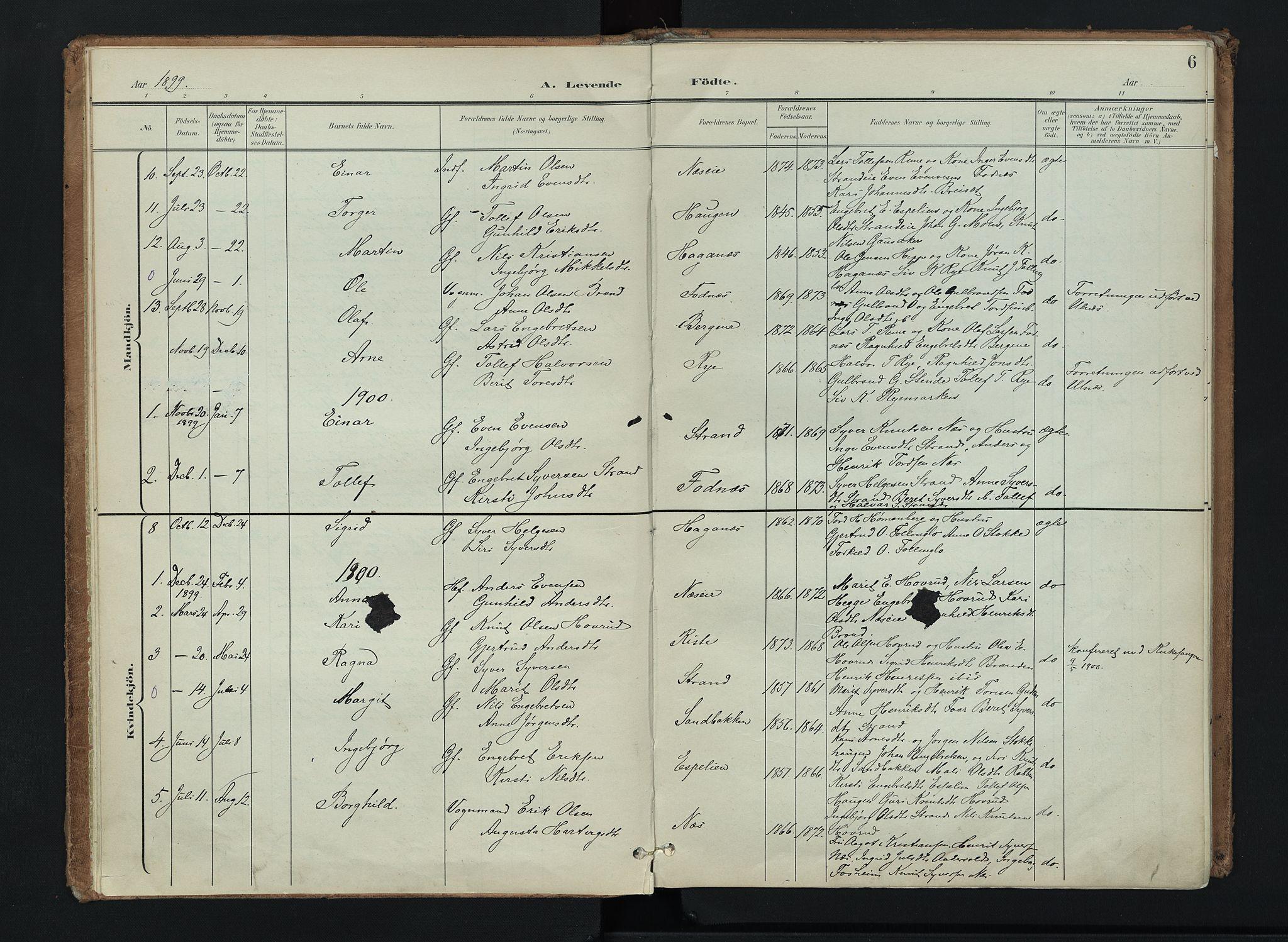 SAH, Nord-Aurdal prestekontor, Ministerialbok nr. 16, 1897-1925, s. 6