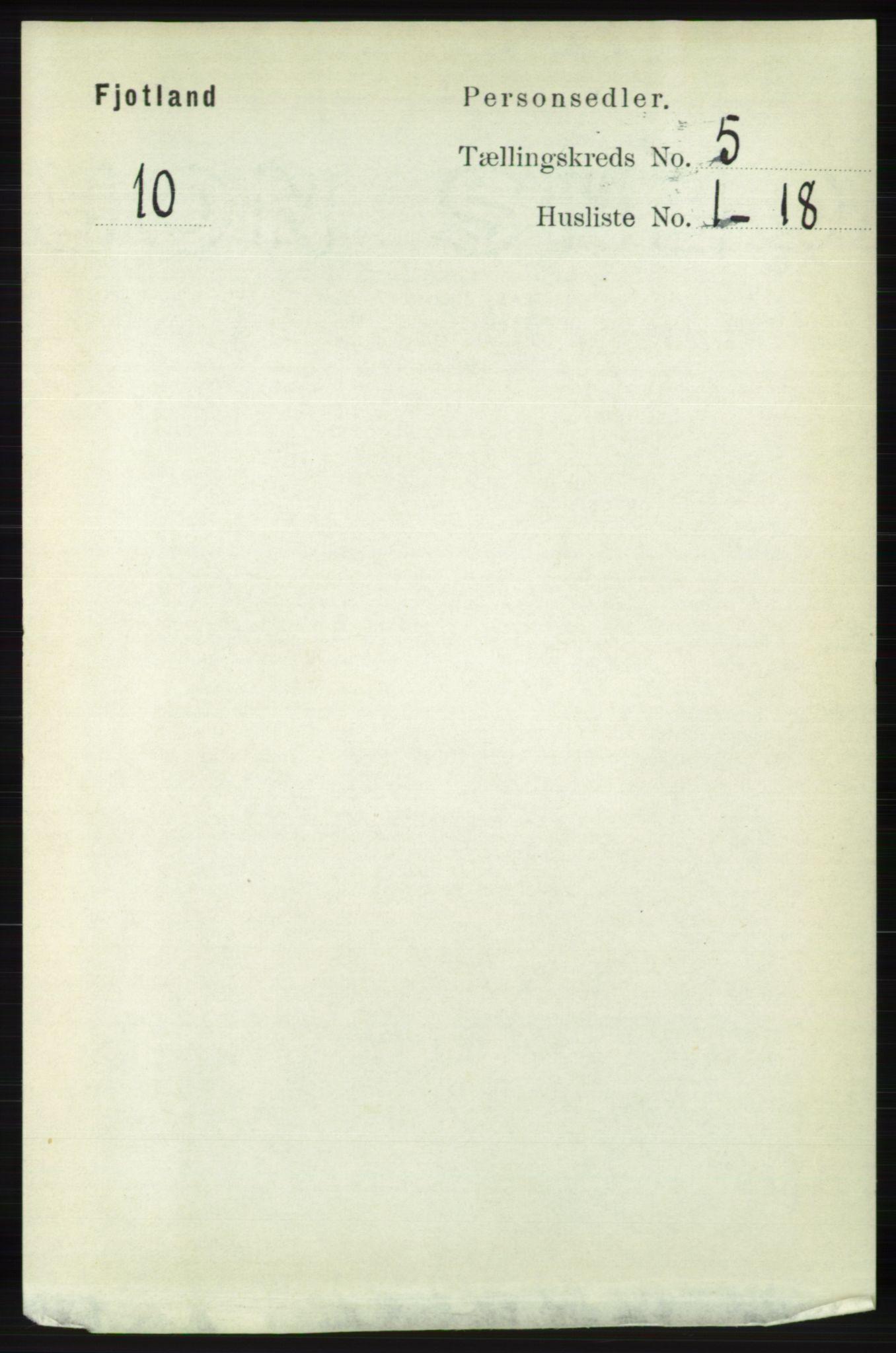 RA, Folketelling 1891 for 1036 Fjotland herred, 1891, s. 718