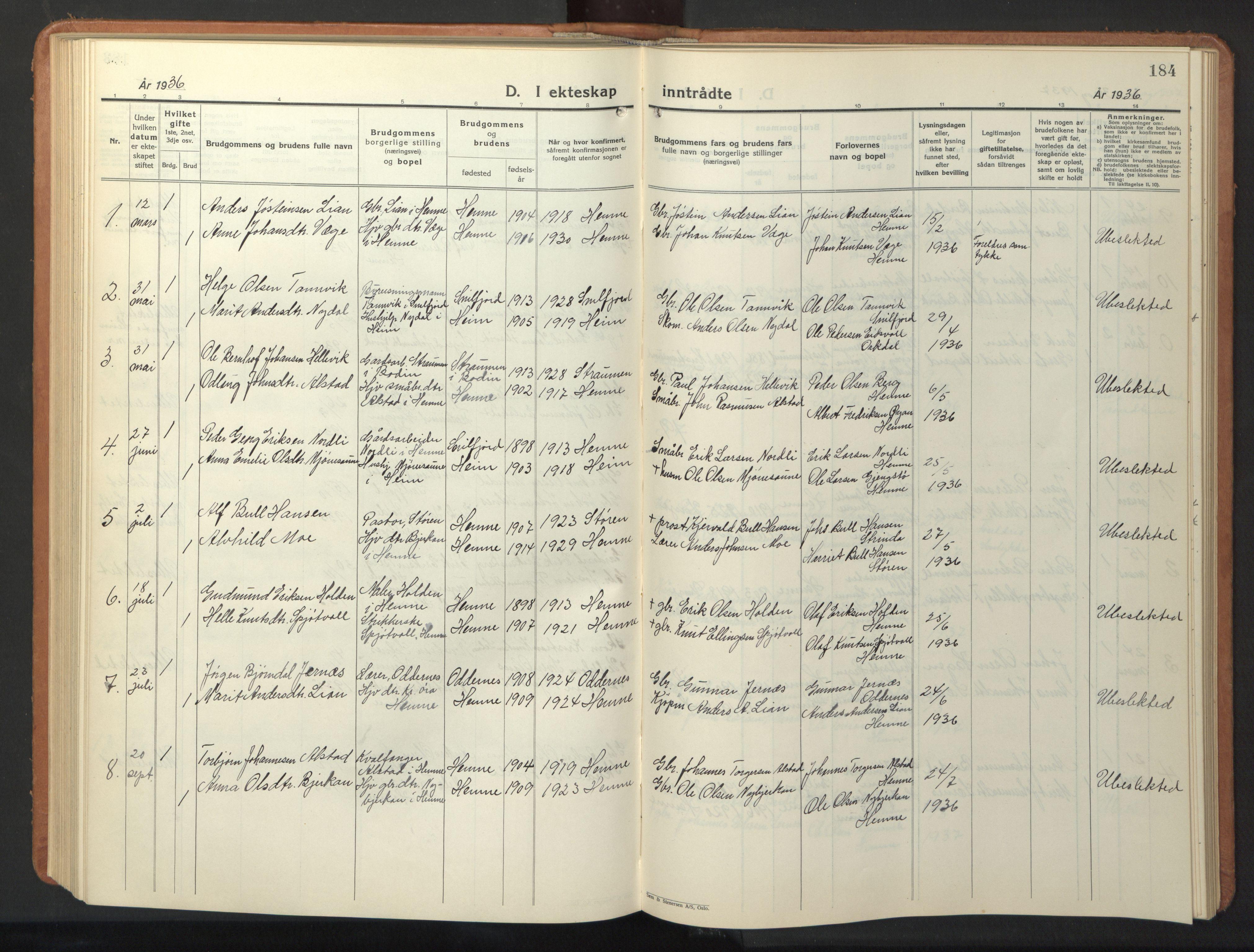 SAT, Ministerialprotokoller, klokkerbøker og fødselsregistre - Sør-Trøndelag, 630/L0508: Klokkerbok nr. 630C06, 1933-1950, s. 184