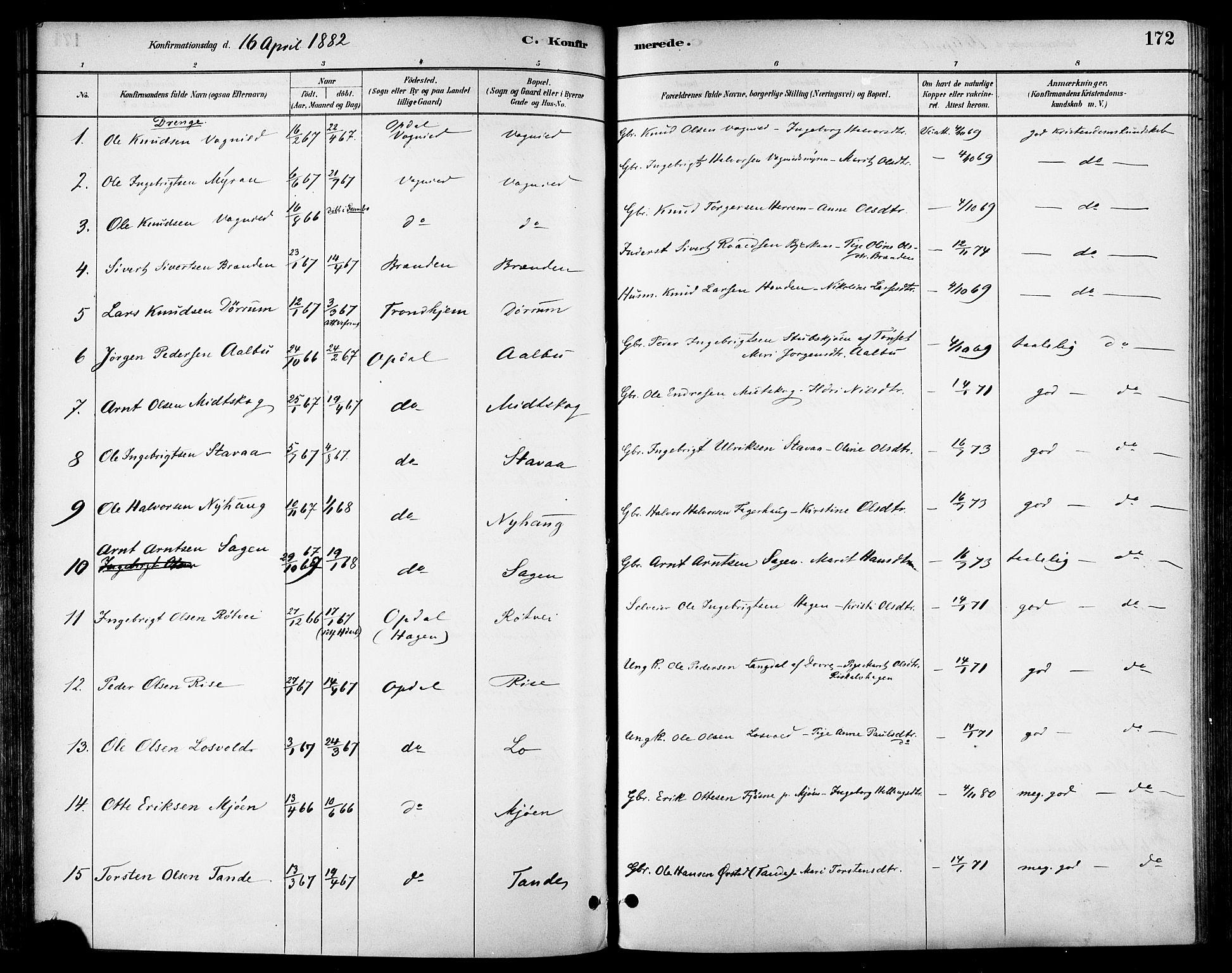 SAT, Ministerialprotokoller, klokkerbøker og fødselsregistre - Sør-Trøndelag, 678/L0901: Ministerialbok nr. 678A10, 1881-1894, s. 172