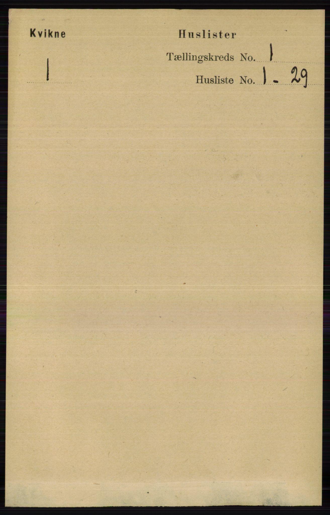 RA, Folketelling 1891 for 0440 Kvikne herred, 1891, s. 16