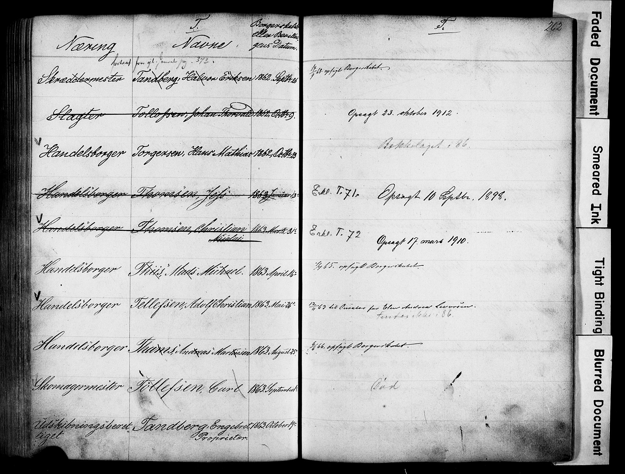SAO, Kristiania magistrat, F/Fb/L0004: Borgerrulle, 1860-1879, s. 264