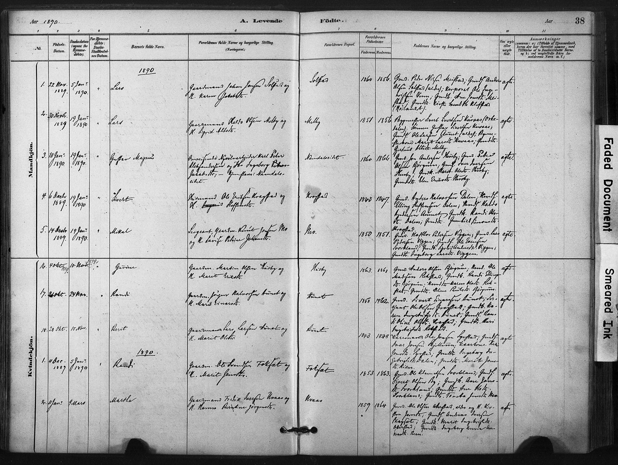 SAT, Ministerialprotokoller, klokkerbøker og fødselsregistre - Sør-Trøndelag, 667/L0795: Ministerialbok nr. 667A03, 1879-1907, s. 38