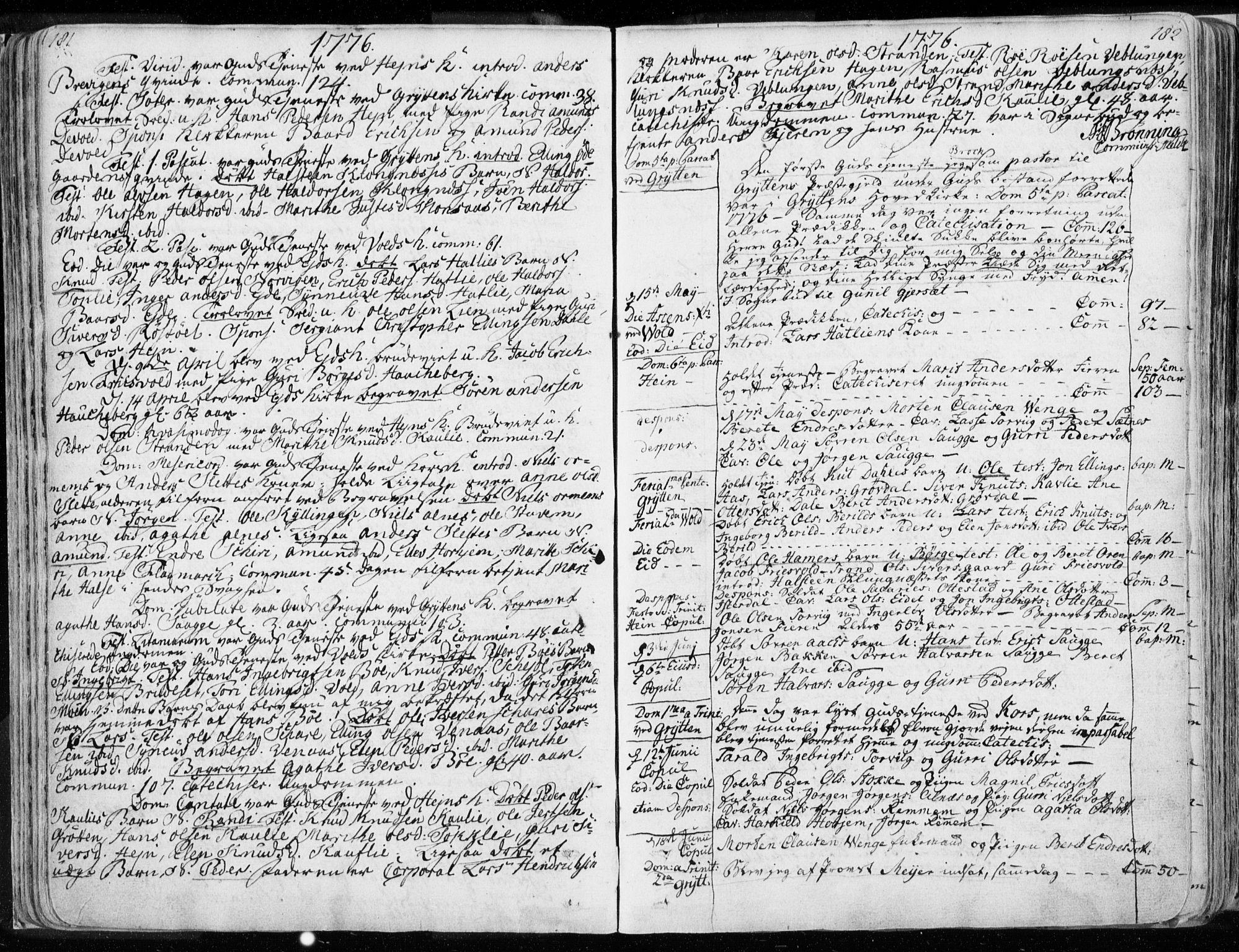 SAT, Ministerialprotokoller, klokkerbøker og fødselsregistre - Møre og Romsdal, 544/L0569: Ministerialbok nr. 544A02, 1764-1806, s. 181-182