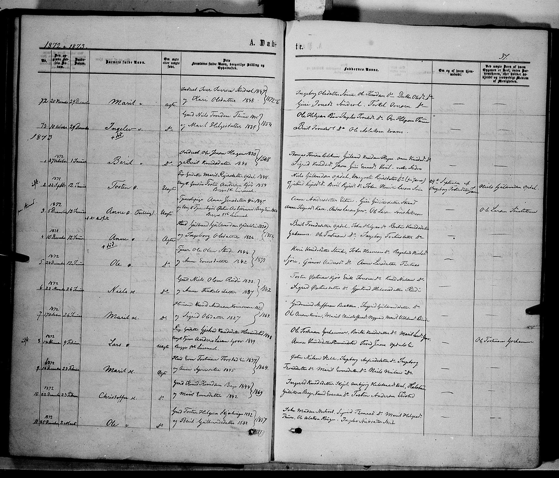 SAH, Vang prestekontor, Valdres, Ministerialbok nr. 7, 1865-1881, s. 37