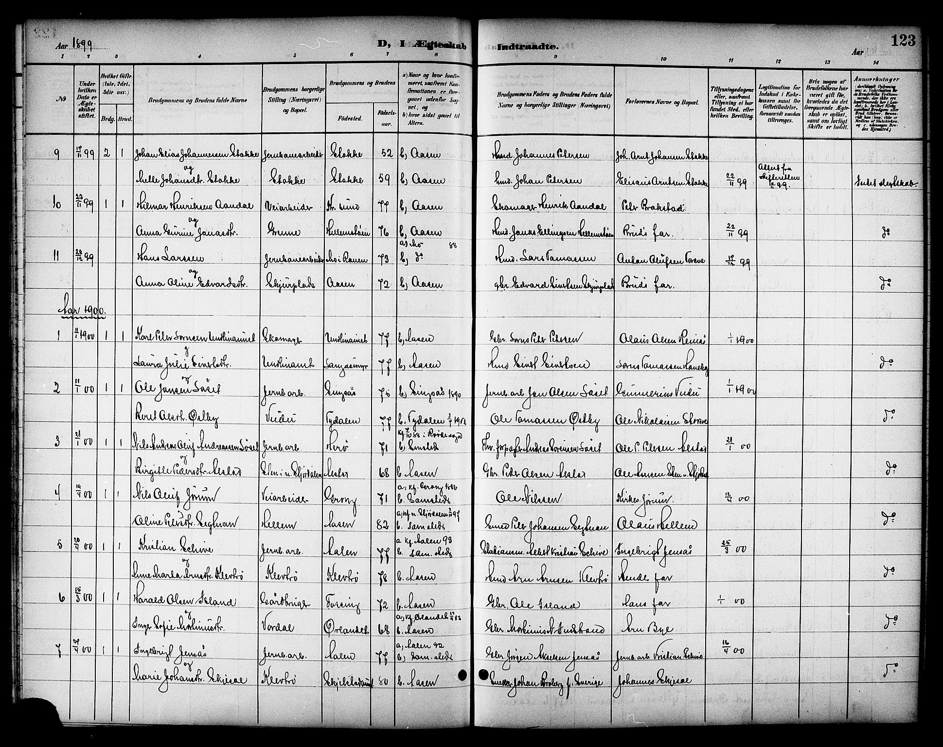 SAT, Ministerialprotokoller, klokkerbøker og fødselsregistre - Nord-Trøndelag, 714/L0135: Klokkerbok nr. 714C04, 1899-1918, s. 123