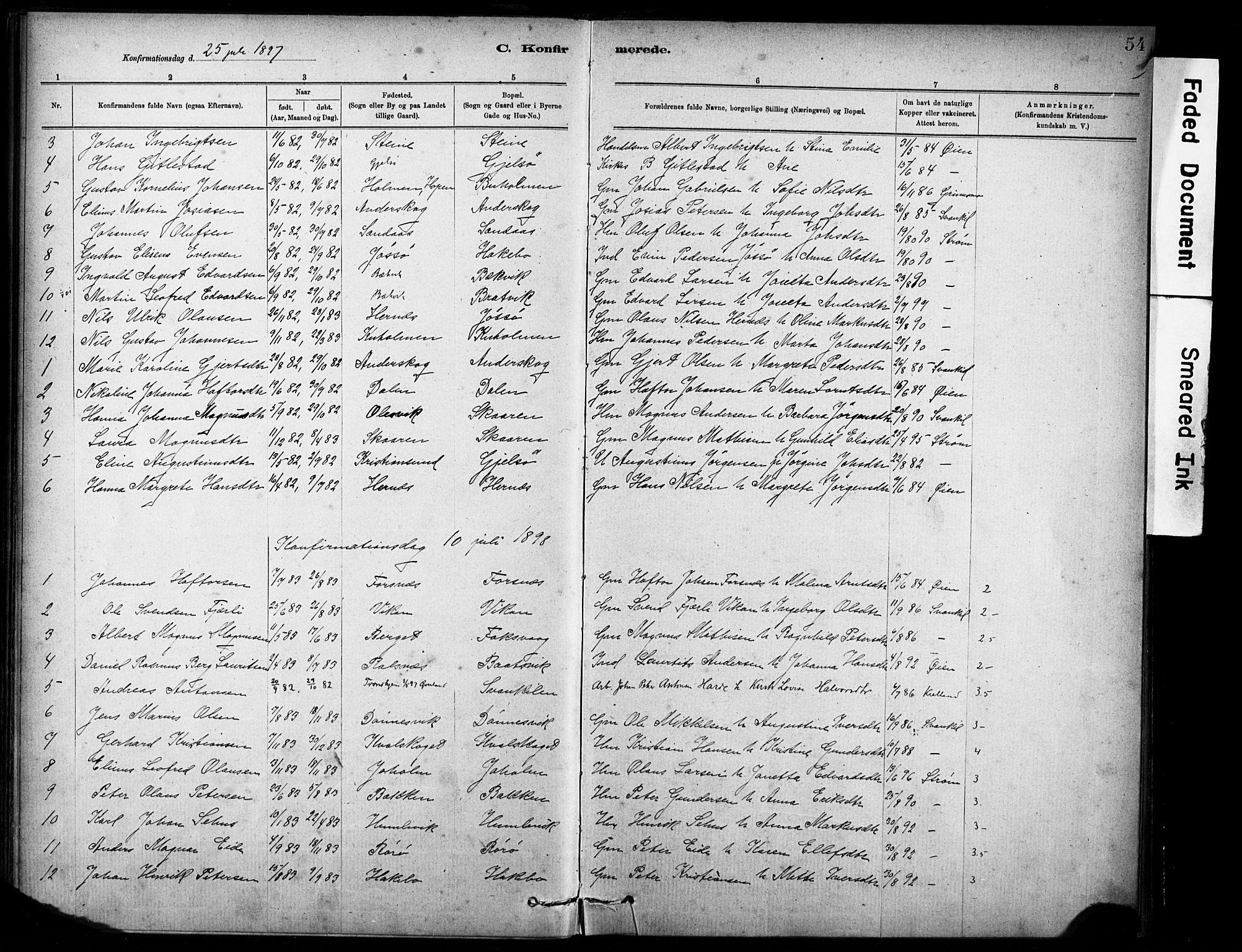 SAT, Ministerialprotokoller, klokkerbøker og fødselsregistre - Sør-Trøndelag, 635/L0551: Ministerialbok nr. 635A01, 1882-1899, s. 54