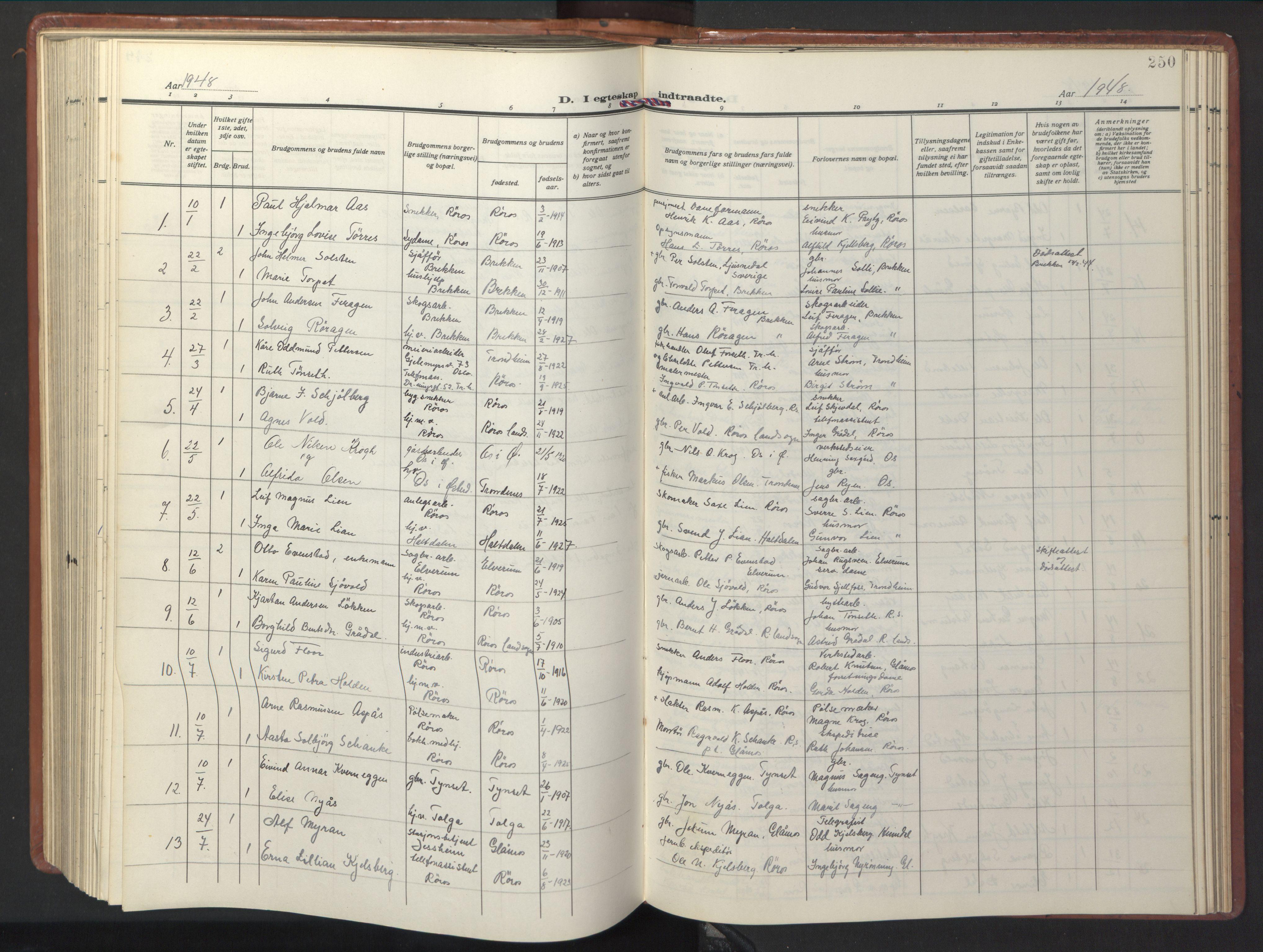 SAT, Ministerialprotokoller, klokkerbøker og fødselsregistre - Sør-Trøndelag, 681/L0943: Klokkerbok nr. 681C07, 1926-1954, s. 250