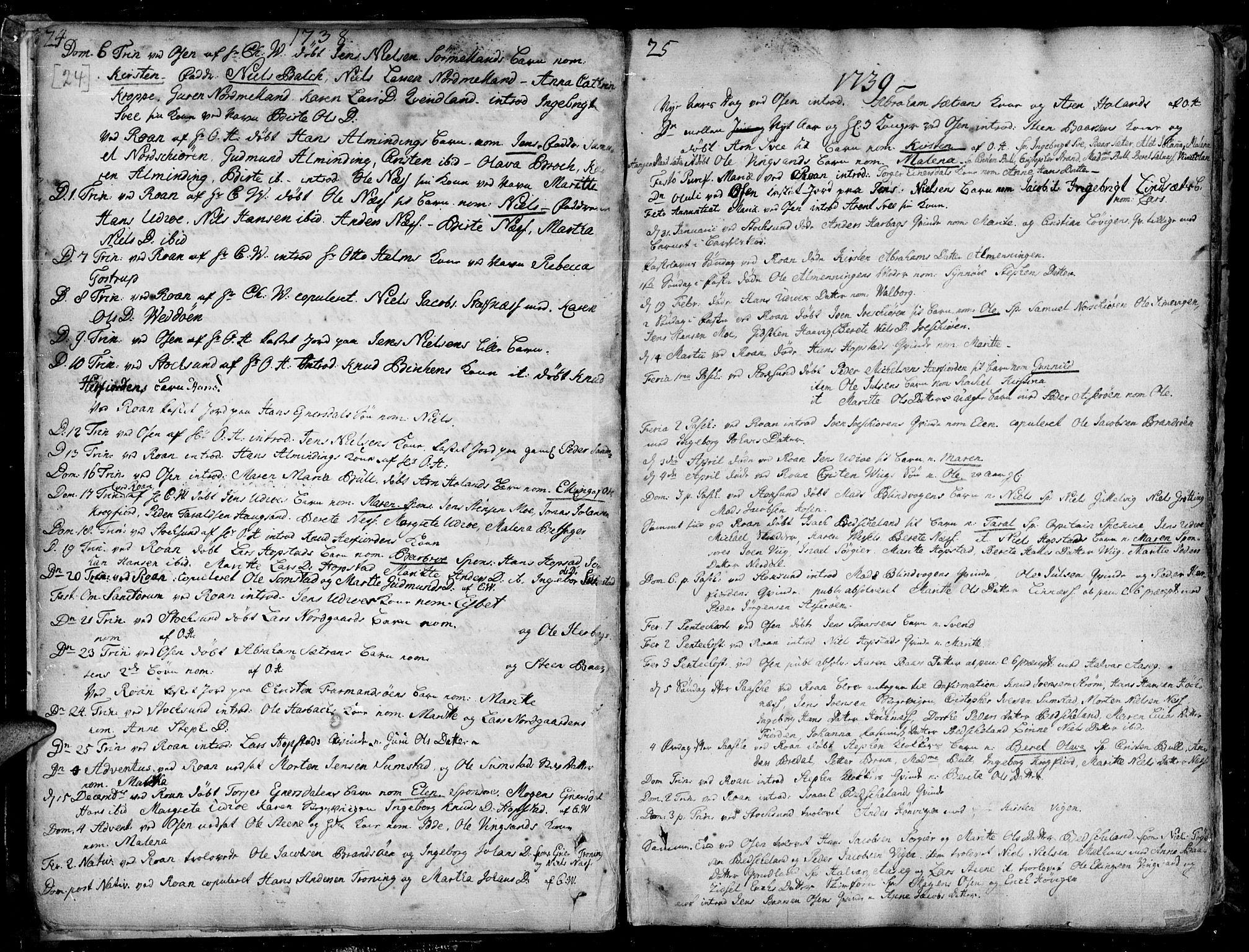 SAT, Ministerialprotokoller, klokkerbøker og fødselsregistre - Sør-Trøndelag, 657/L0700: Ministerialbok nr. 657A01, 1732-1801, s. 24-25