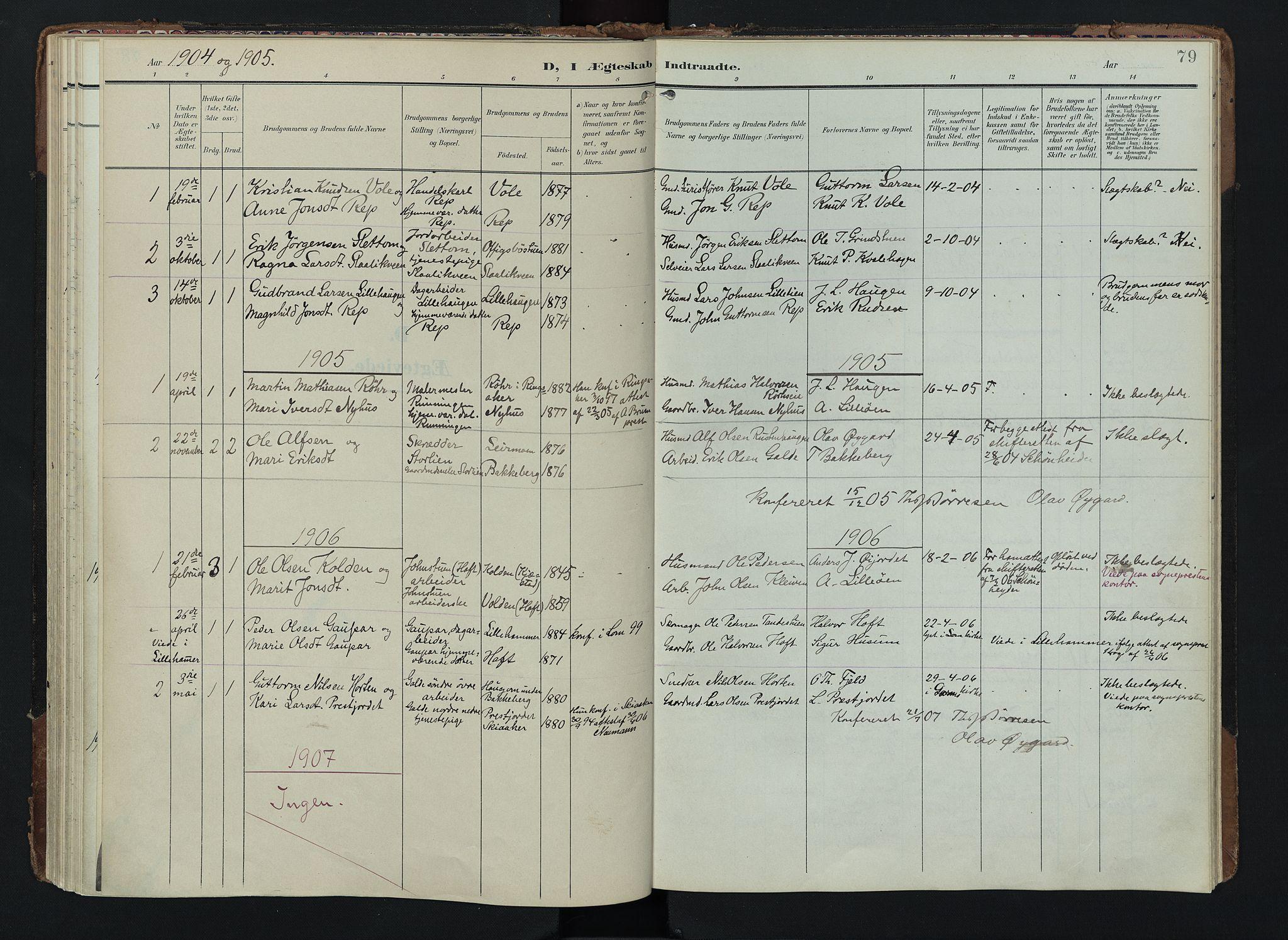 SAH, Lom prestekontor, K/L0012: Ministerialbok nr. 12, 1904-1928, s. 79
