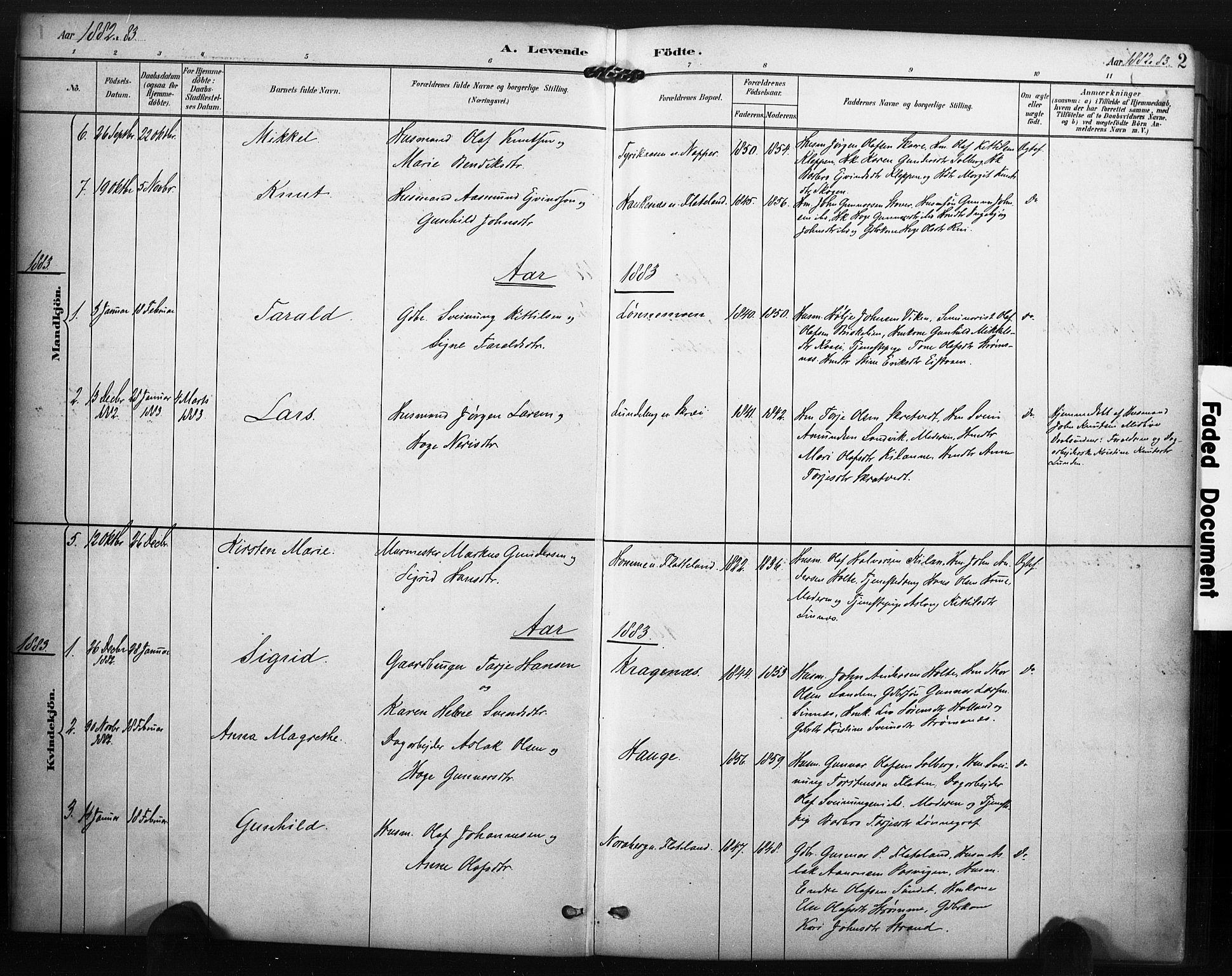 SAKO, Kviteseid kirkebøker, F/Fc/L0002: Ministerialbok nr. III 2, 1882-1908, s. 2