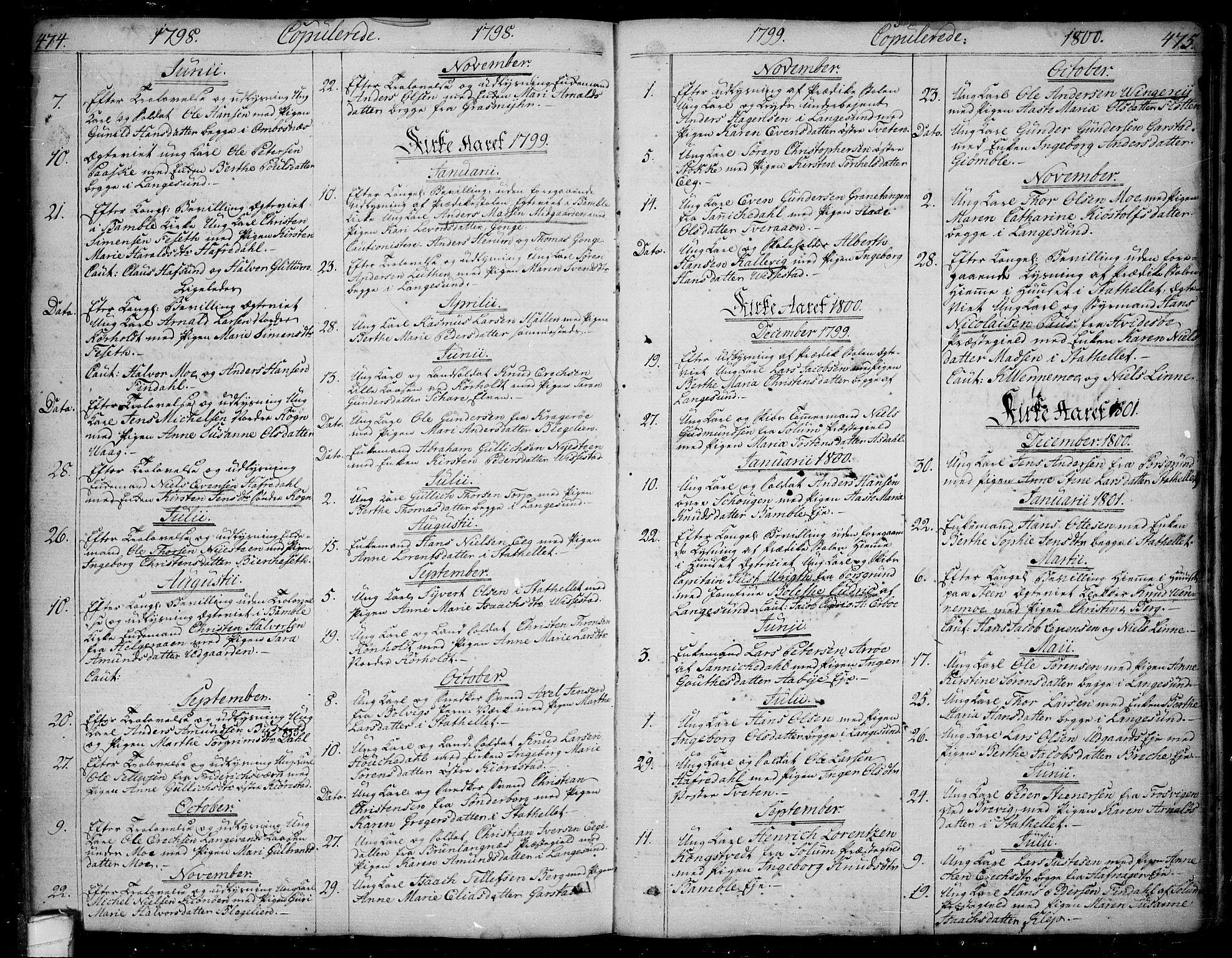 SAKO, Bamble kirkebøker, F/Fa/L0002: Ministerialbok nr. I 2, 1775-1814, s. 474-475