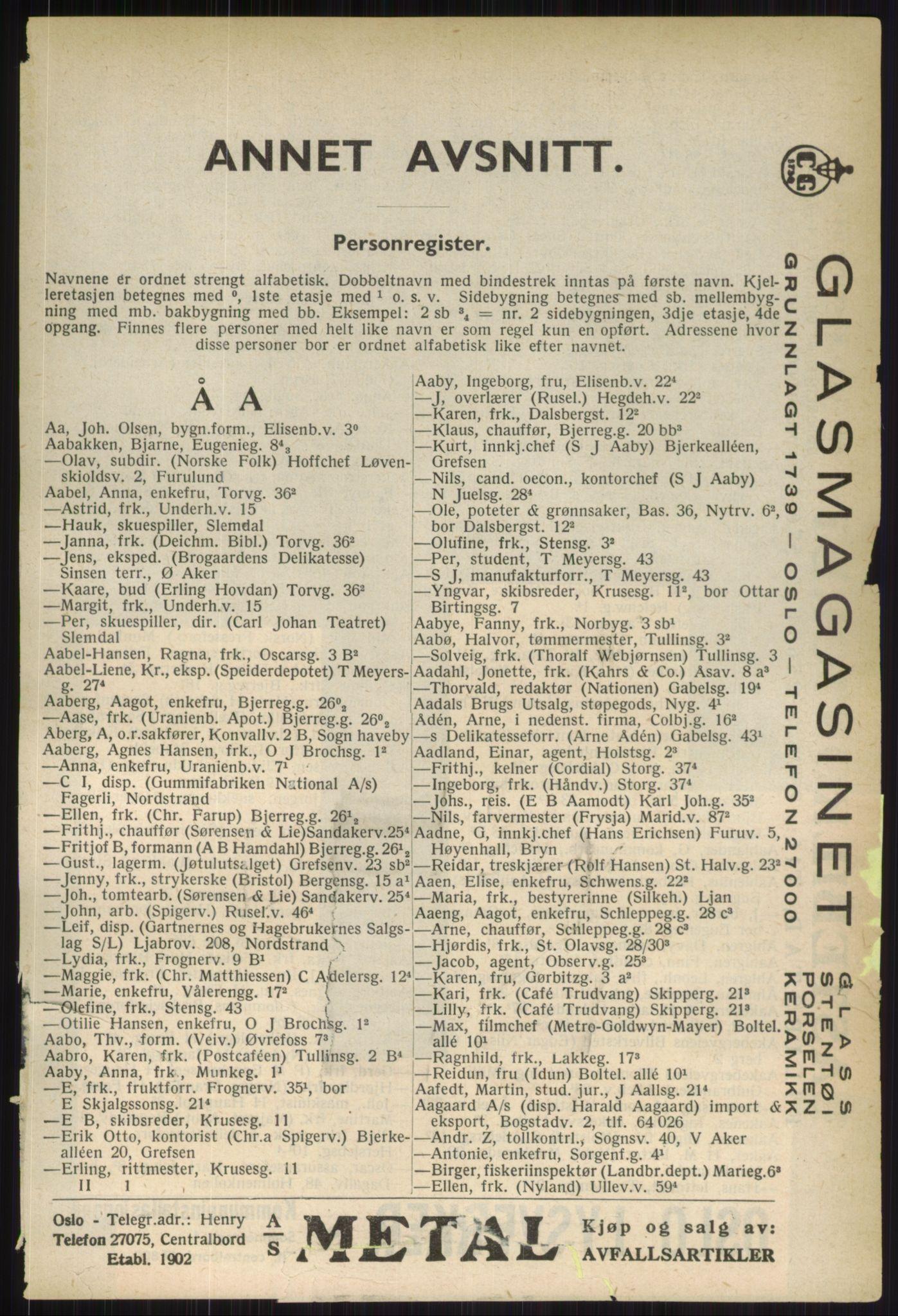 RA, Oslo adressebok (publikasjon)*, 1936, s. 81