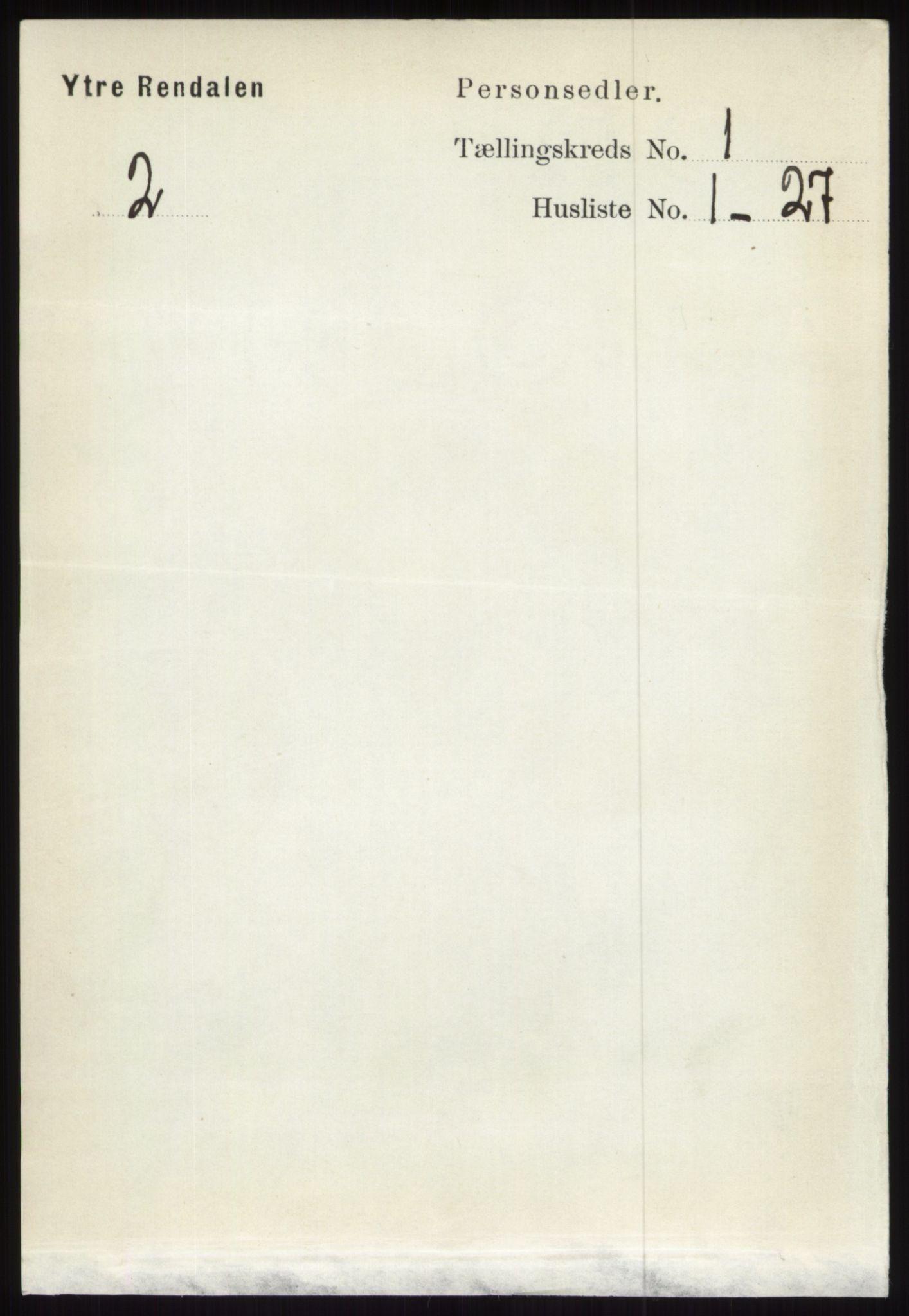 RA, Folketelling 1891 for 0432 Ytre Rendal herred, 1891, s. 80