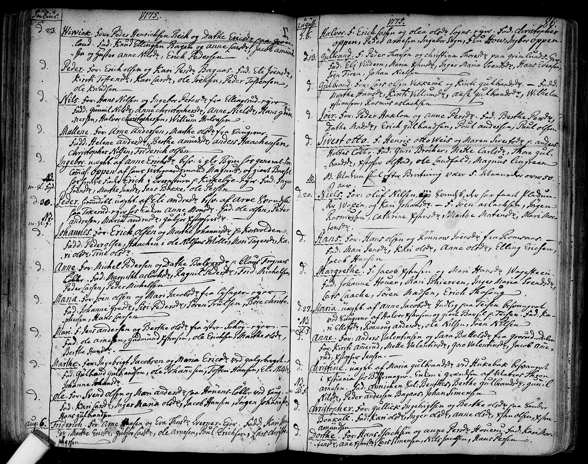 SAO, Aker prestekontor kirkebøker, F/L0009: Ministerialbok nr. 9, 1765-1785, s. 86