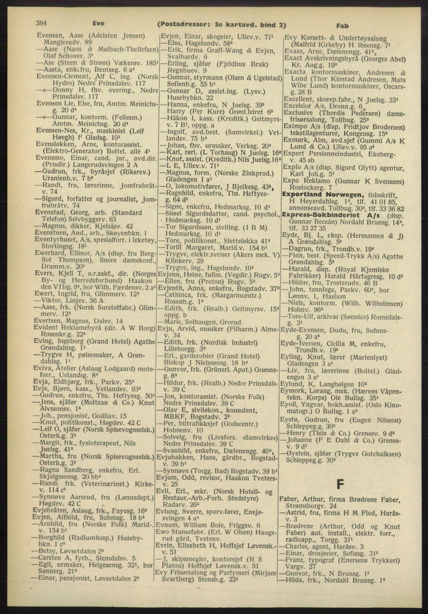 PUBL, Kristiania/Oslo adressebok, 1960-1961, s. 384