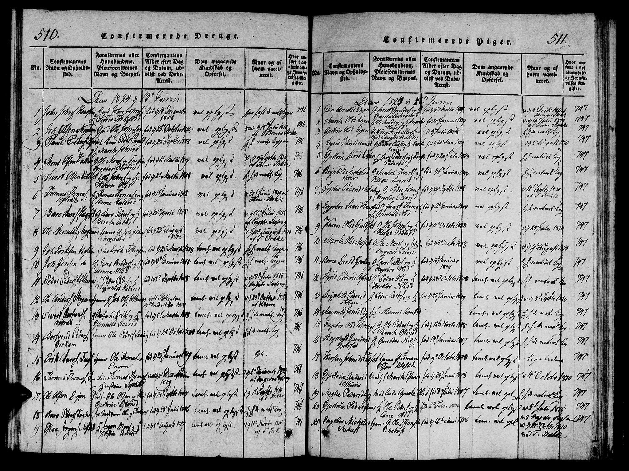 SAT, Ministerialprotokoller, klokkerbøker og fødselsregistre - Sør-Trøndelag, 695/L1141: Ministerialbok nr. 695A04 /1, 1816-1824, s. 510-511