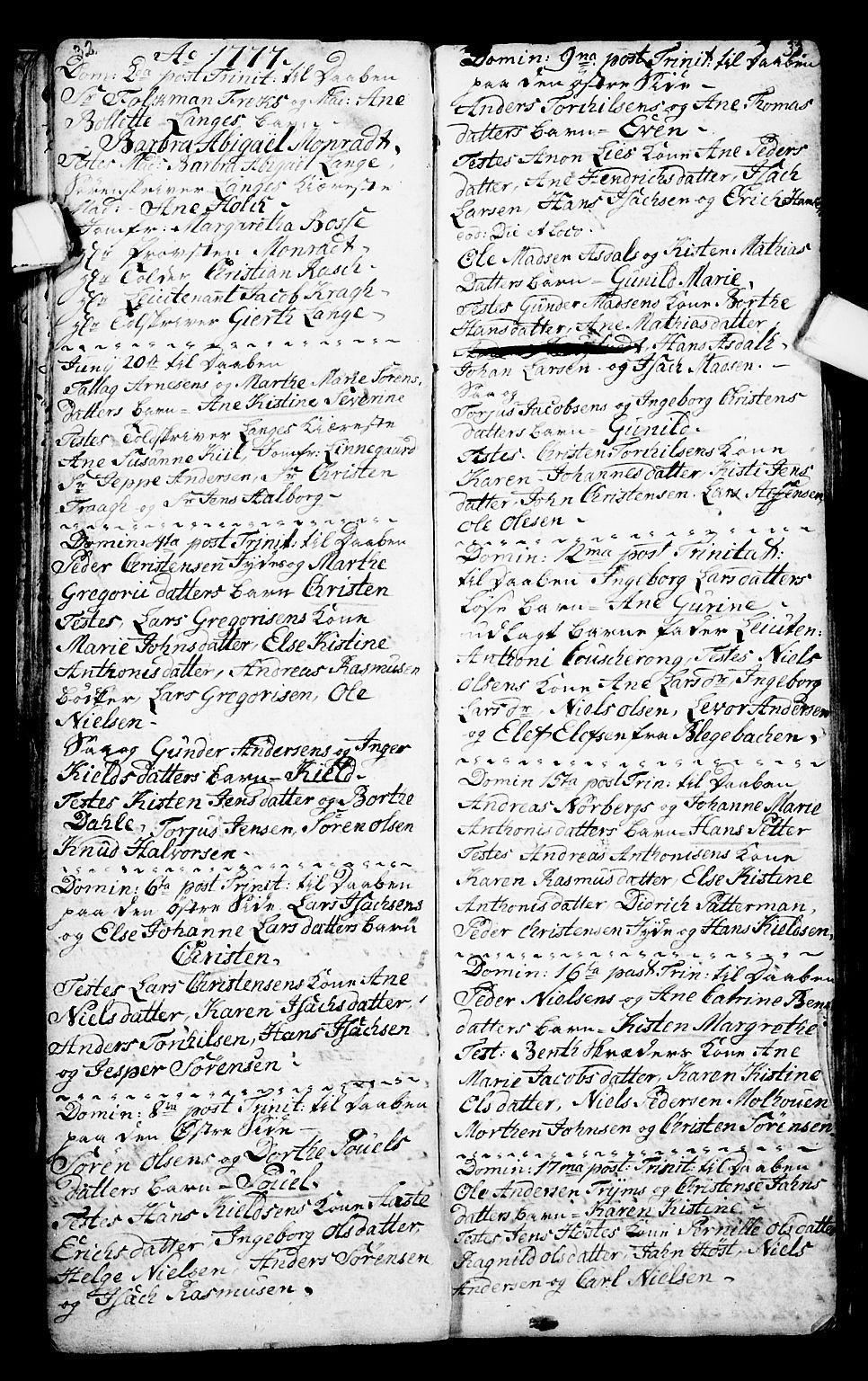 SAKO, Porsgrunn kirkebøker , G/Ga/L0001: Klokkerbok nr. I 1, 1766-1790, s. 32-33