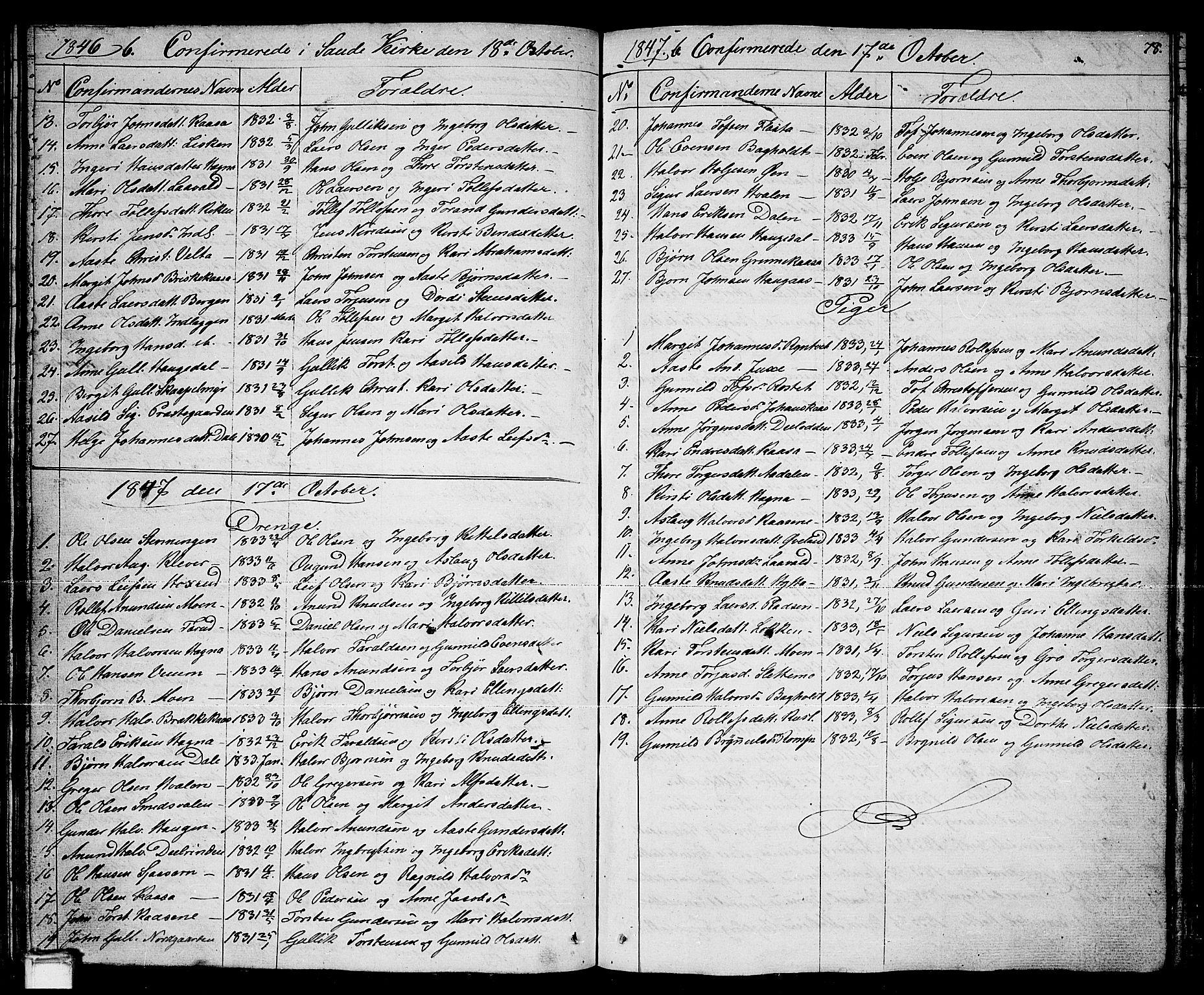 SAKO, Sauherad kirkebøker, G/Ga/L0002: Klokkerbok nr. I 2, 1842-1866, s. 78