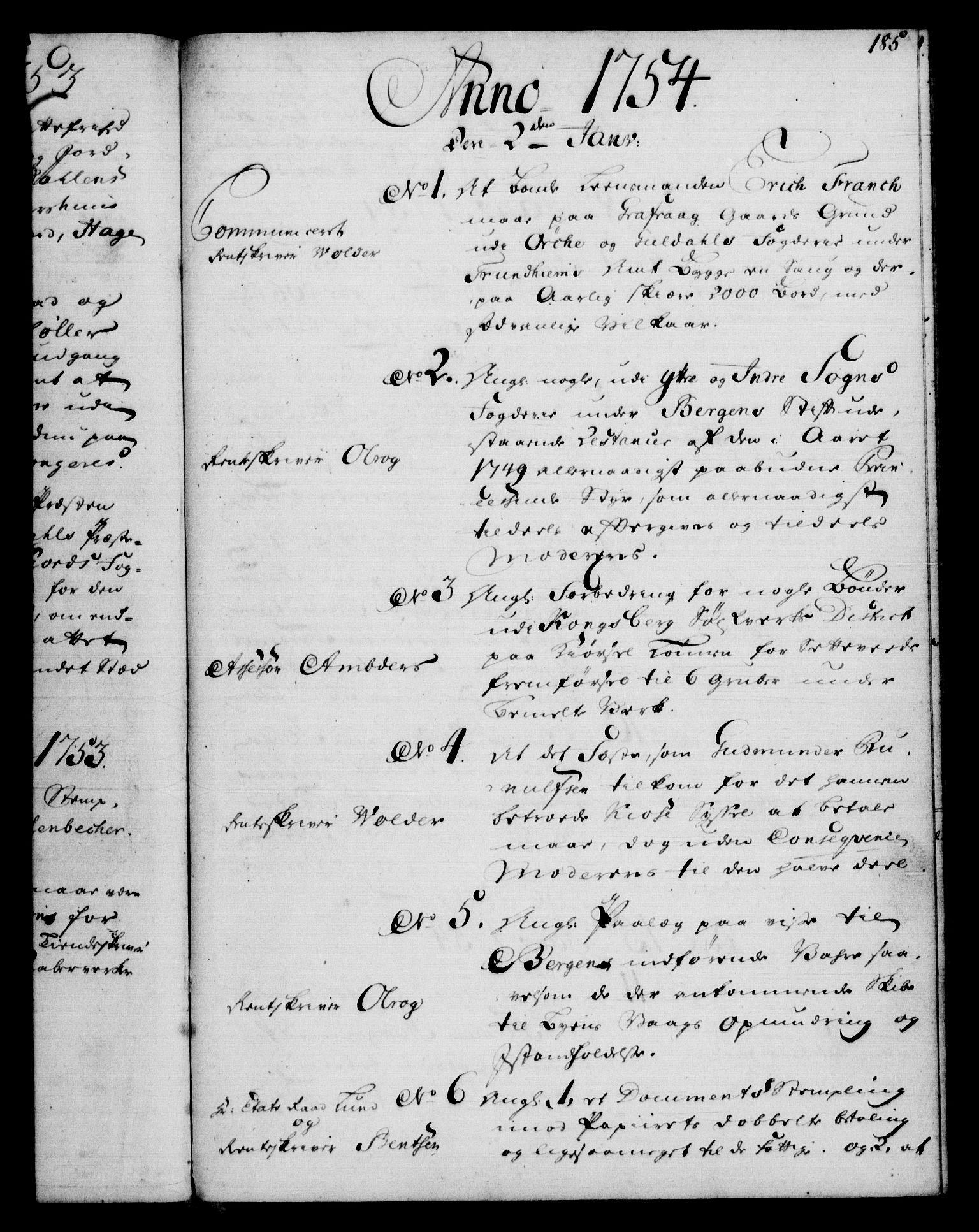 RA, Rentekammeret, Kammerkanselliet, G/Gf/Gfb/L0005: Register til norske relasjons- og resolusjonsprotokoller (merket RK 52.100), 1744-1754, s. 185