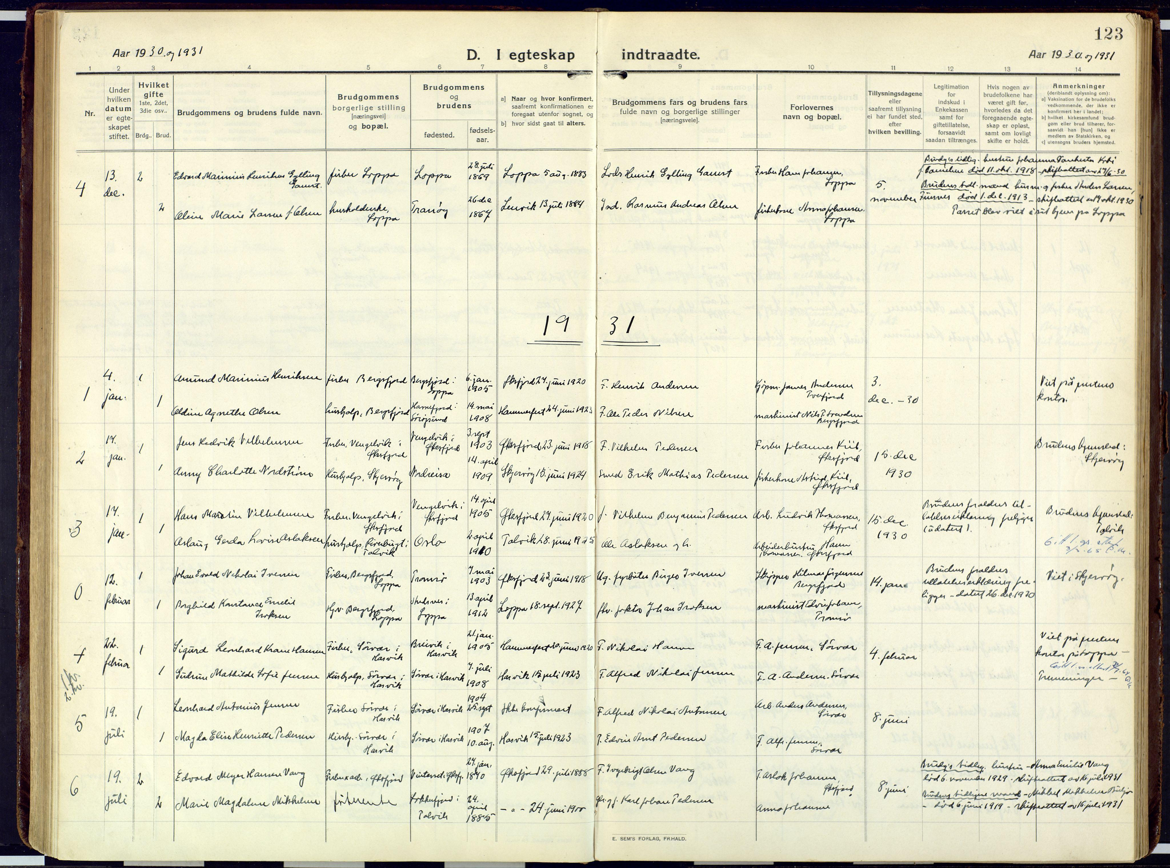 SATØ, Loppa sokneprestkontor, H/Ha/L0013kirke: Ministerialbok nr. 13, 1920-1932, s. 123