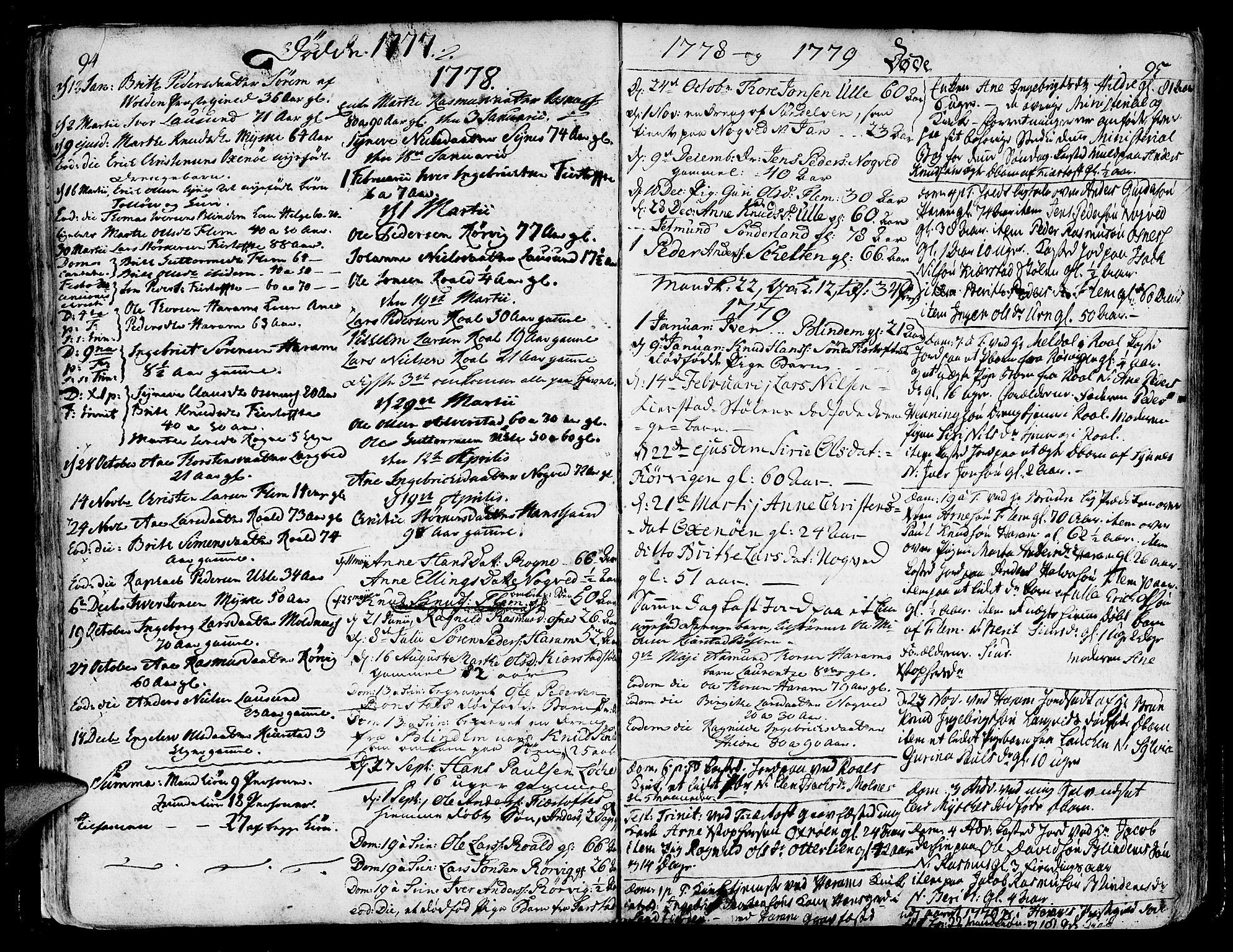 SAT, Ministerialprotokoller, klokkerbøker og fødselsregistre - Møre og Romsdal, 536/L0493: Ministerialbok nr. 536A02, 1739-1802, s. 94-95