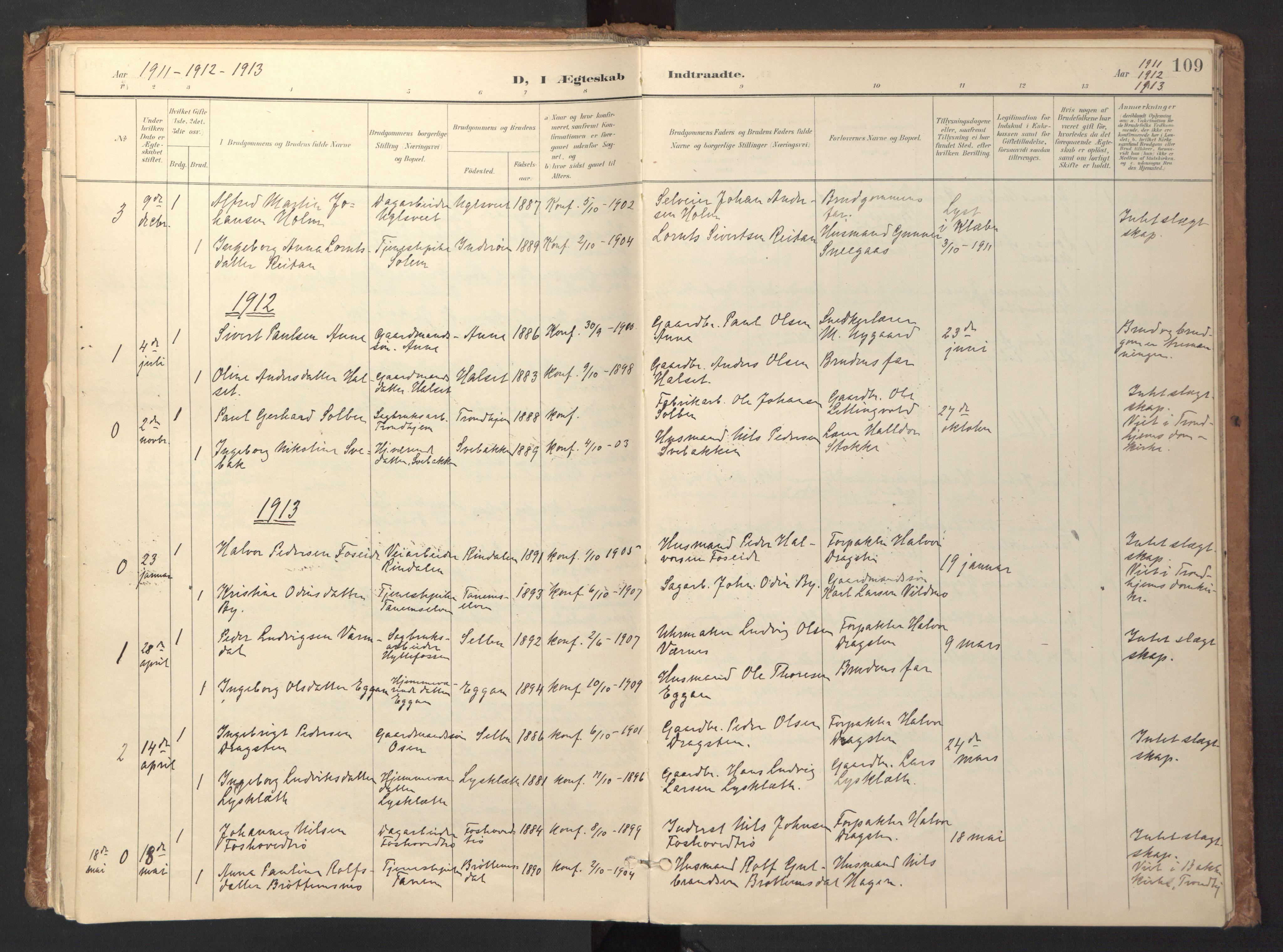 SAT, Ministerialprotokoller, klokkerbøker og fødselsregistre - Sør-Trøndelag, 618/L0448: Ministerialbok nr. 618A11, 1898-1916, s. 109