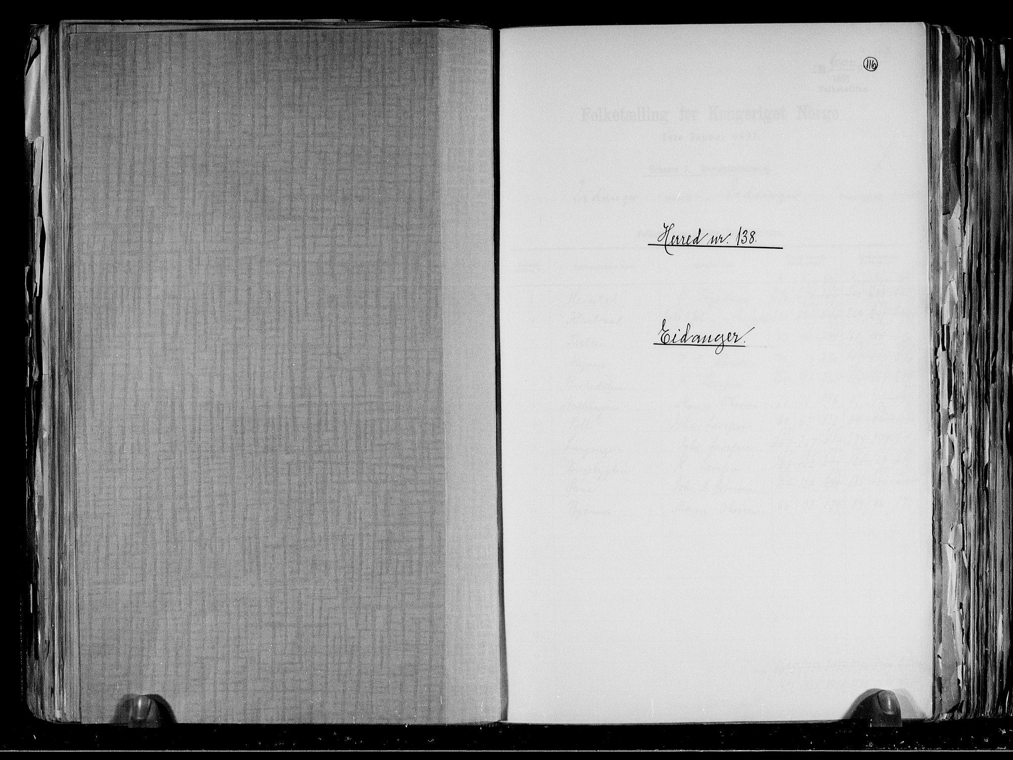 RA, Folketelling 1891 for 0813 Eidanger herred, 1891, s. 1