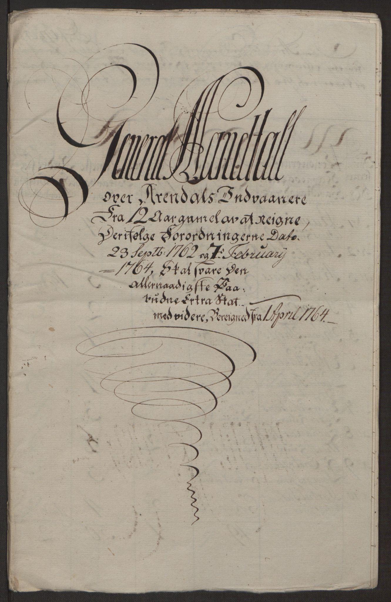 RA, Rentekammeret inntil 1814, Reviderte regnskaper, Byregnskaper, R/Rl/L0230: [L4] Kontribusjonsregnskap, 1762-1764, s. 474