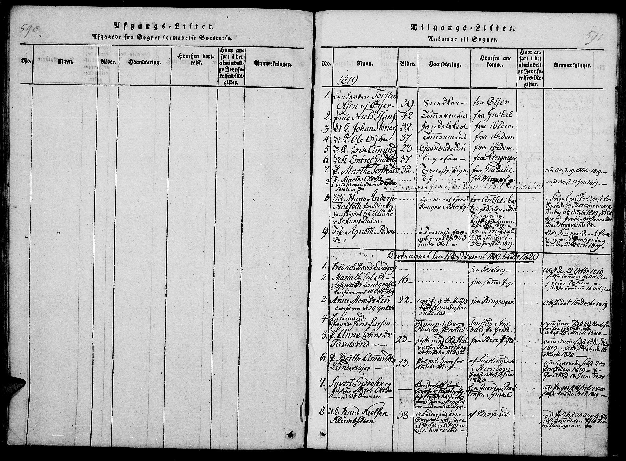 SAH, Fåberg prestekontor, Ministerialbok nr. 3, 1818-1833, s. 590-591