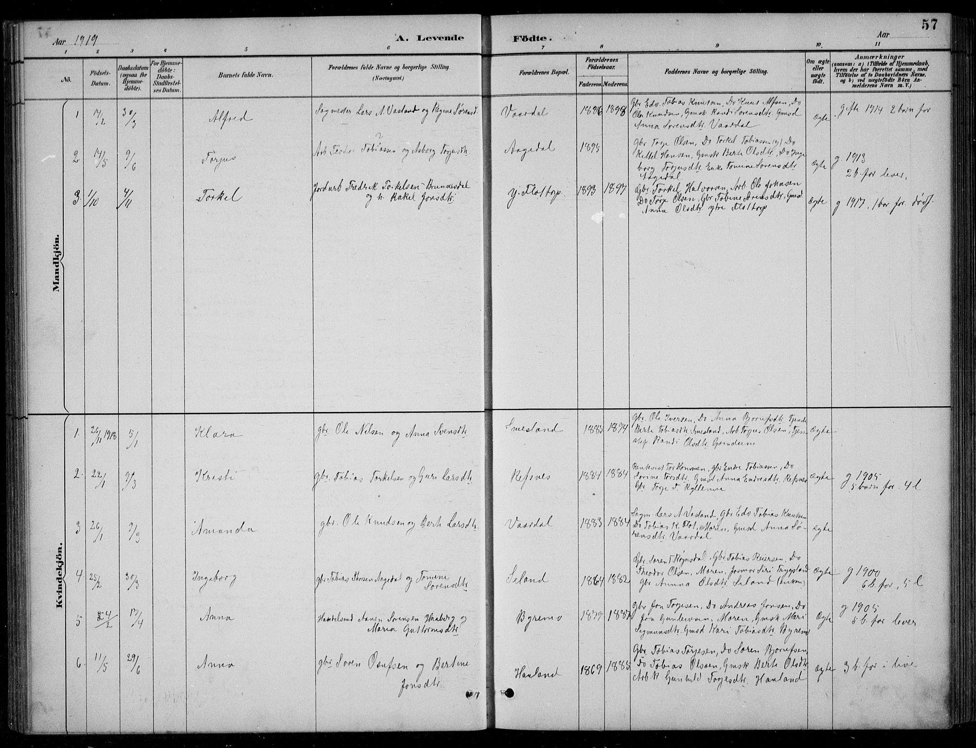 SAK, Bjelland sokneprestkontor, F/Fb/Fbc/L0003: Klokkerbok nr. B 3, 1887-1924, s. 57