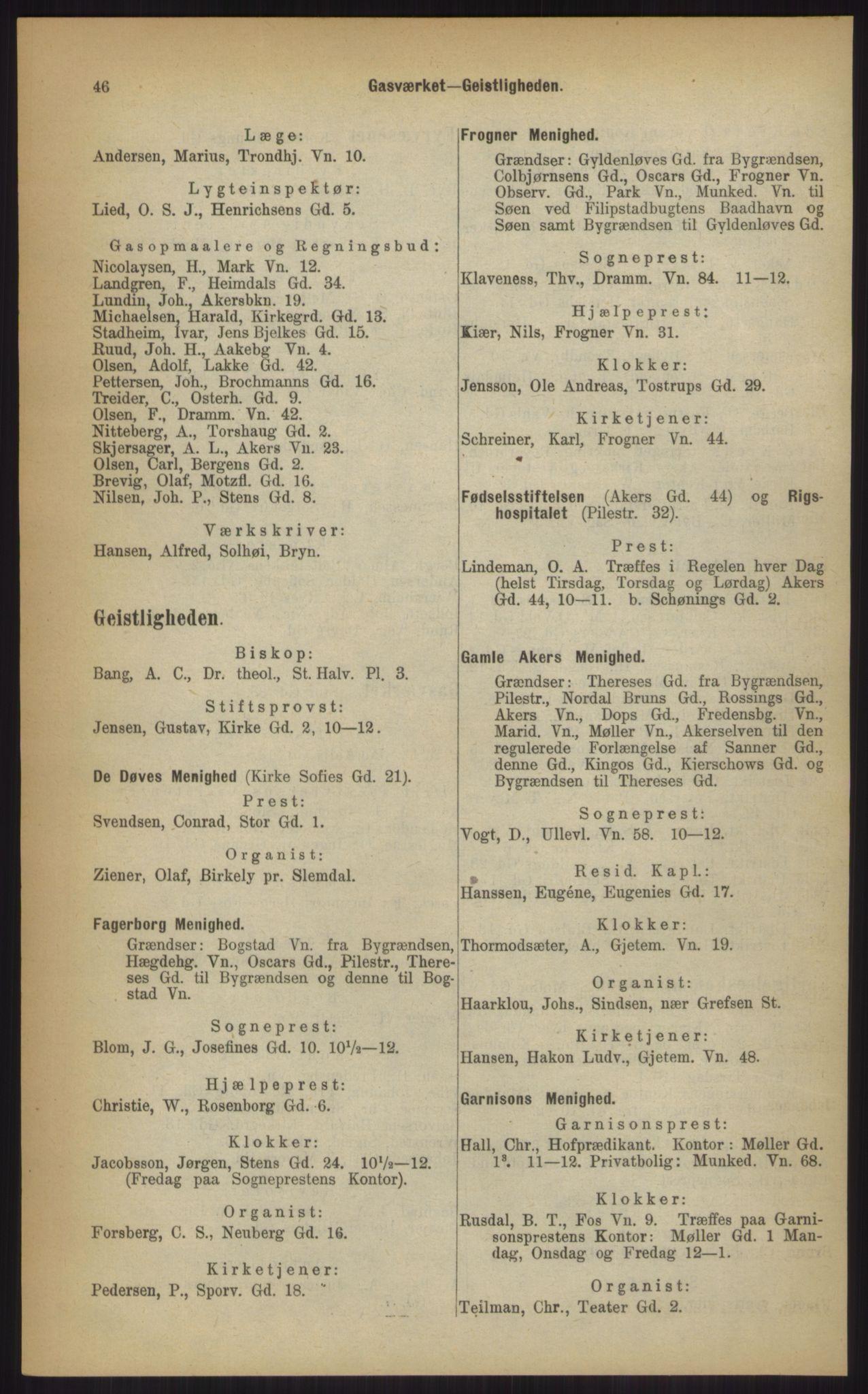 RA, Kristiania adressebok (publikasjon)*, 1903, s. 46