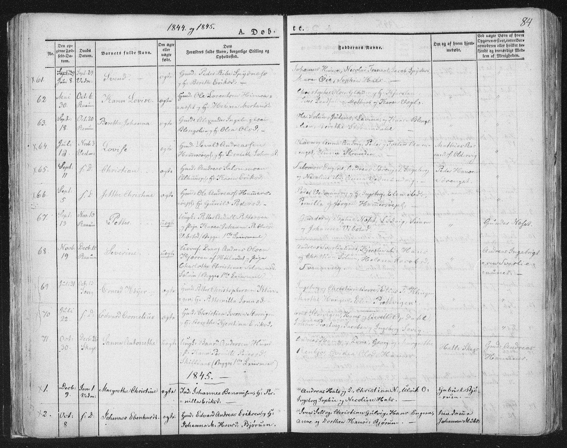 SAT, Ministerialprotokoller, klokkerbøker og fødselsregistre - Nord-Trøndelag, 764/L0551: Ministerialbok nr. 764A07a, 1824-1864, s. 84