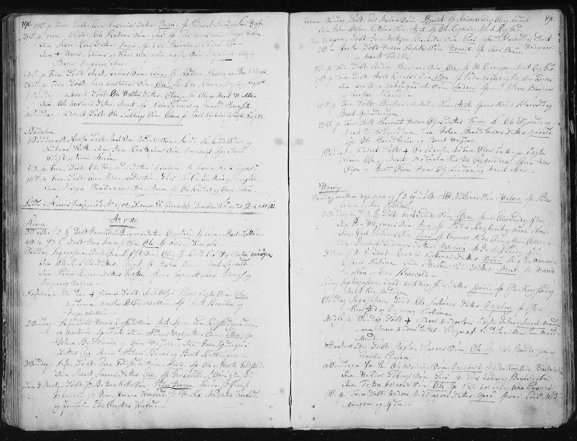 SAT, Ministerialprotokoller, klokkerbøker og fødselsregistre - Sør-Trøndelag, 687/L0992: Ministerialbok nr. 687A03 /1, 1788-1815, s. 190-191