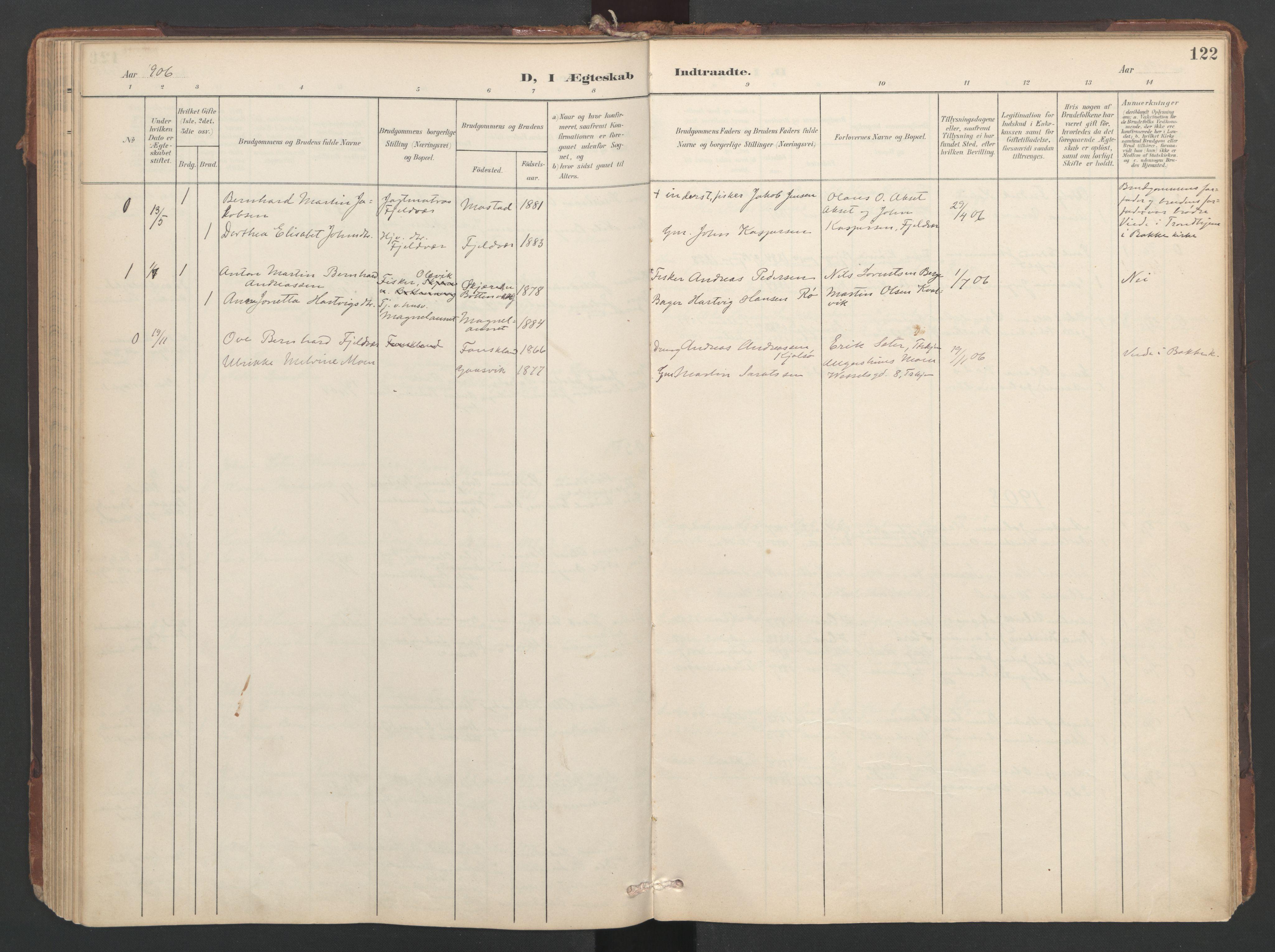 SAT, Ministerialprotokoller, klokkerbøker og fødselsregistre - Sør-Trøndelag, 638/L0568: Ministerialbok nr. 638A01, 1901-1916, s. 122