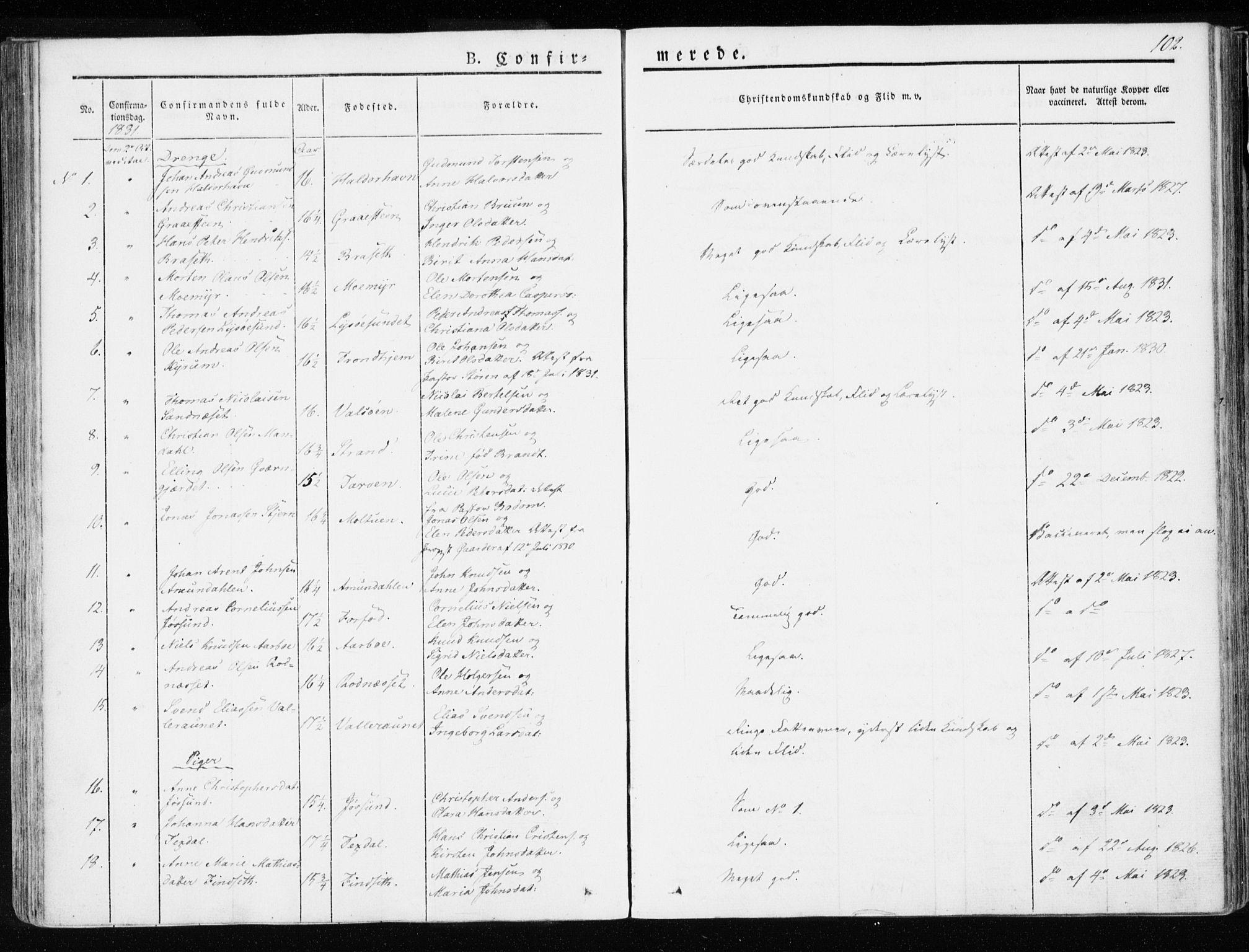 SAT, Ministerialprotokoller, klokkerbøker og fødselsregistre - Sør-Trøndelag, 655/L0676: Ministerialbok nr. 655A05, 1830-1847, s. 102