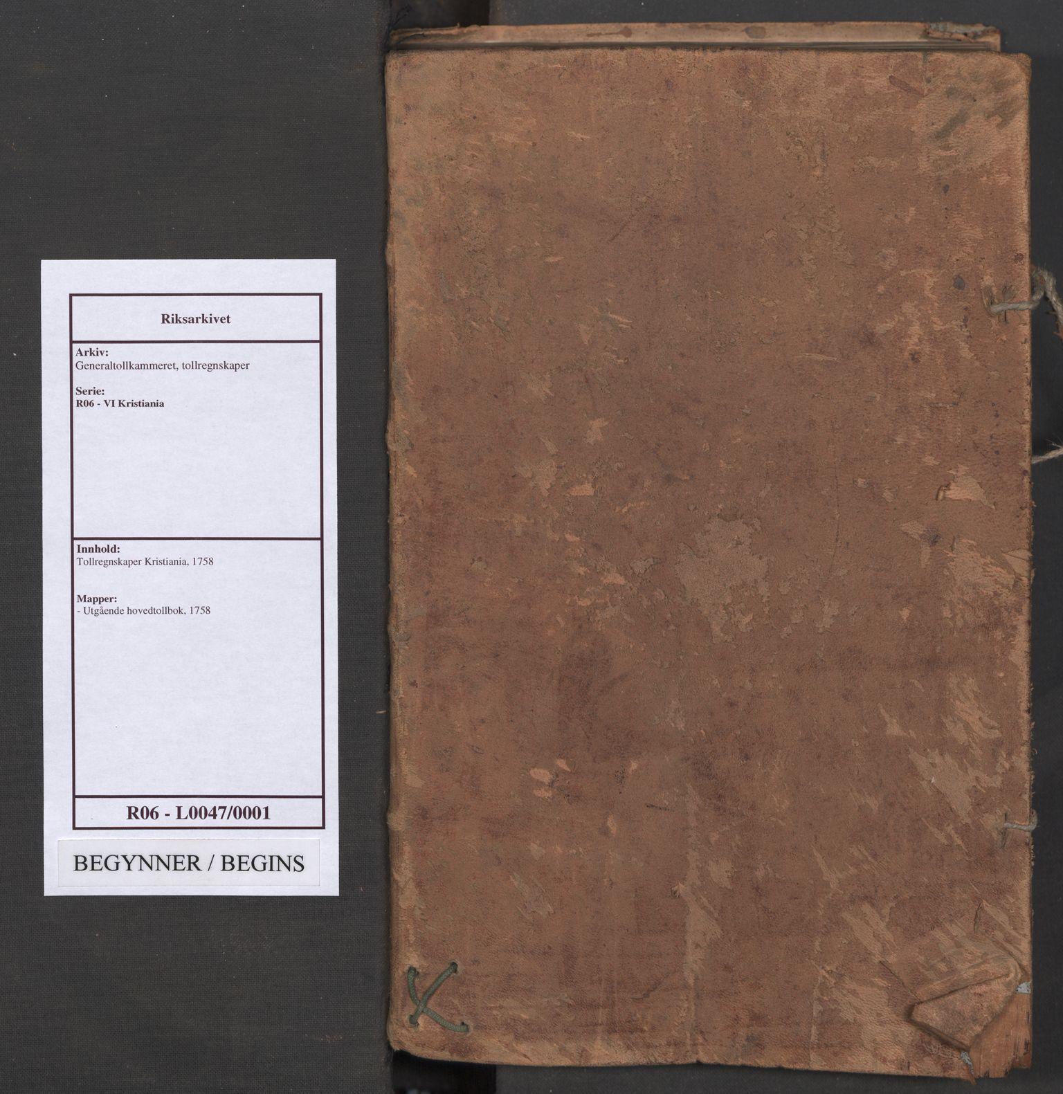 RA, Generaltollkammeret, tollregnskaper, R06/L0047: Tollregnskaper Kristiania, 1758